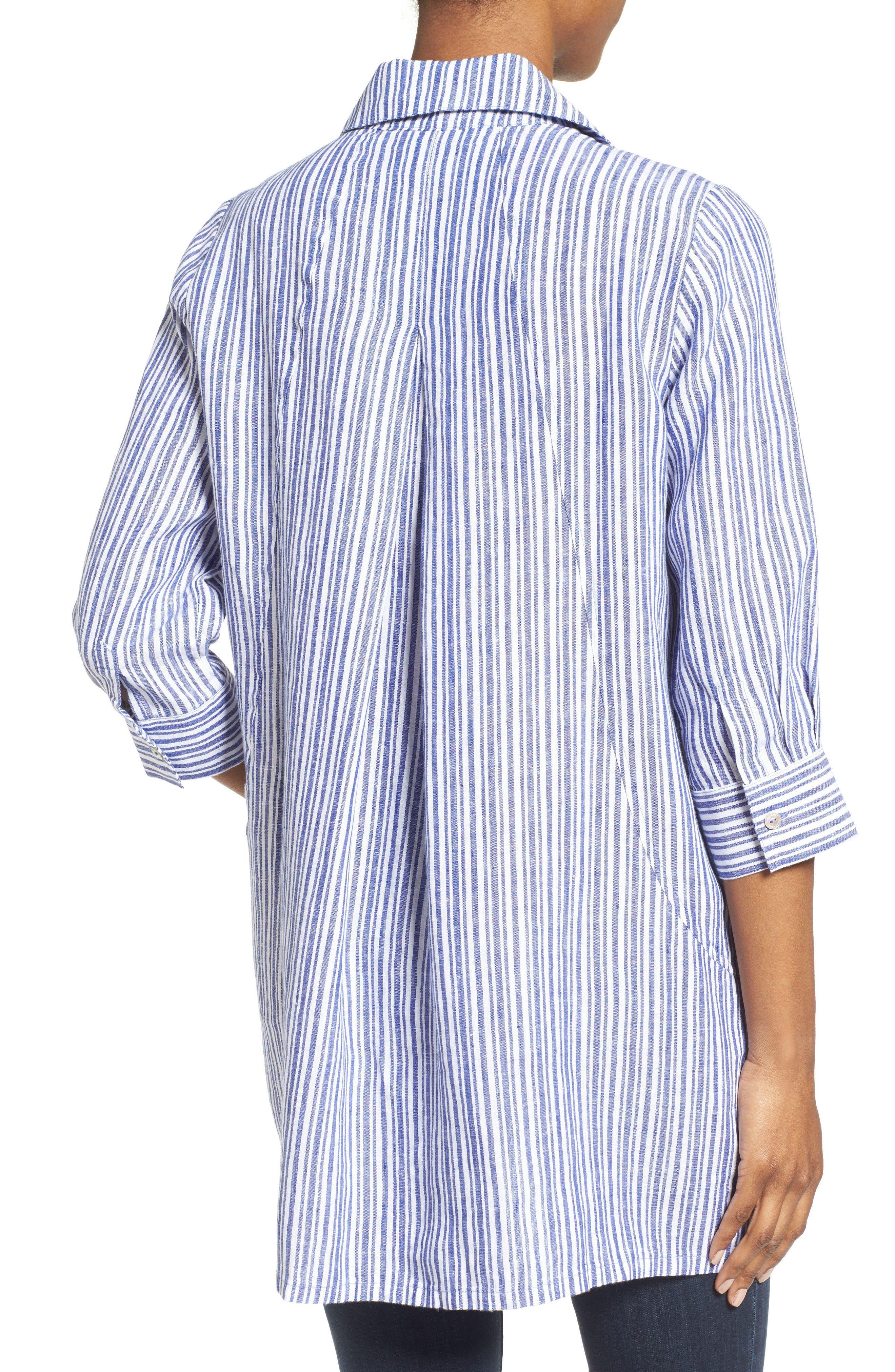 Stripe Linen Tunic,                             Alternate thumbnail 2, color,                             Blue Lagoon