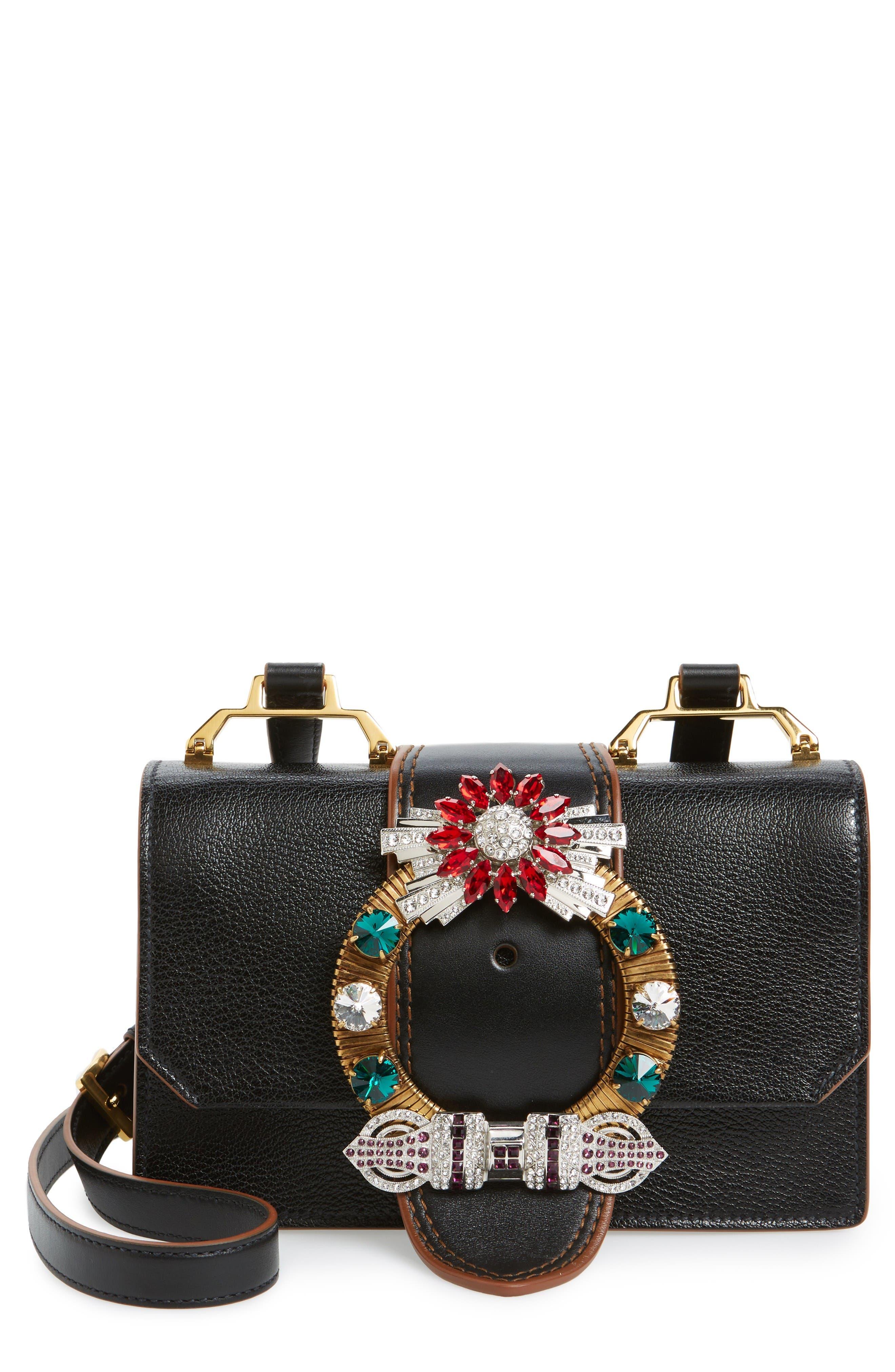 Miu Miu Madras Crystal Embellished Leather Shoulder Bag