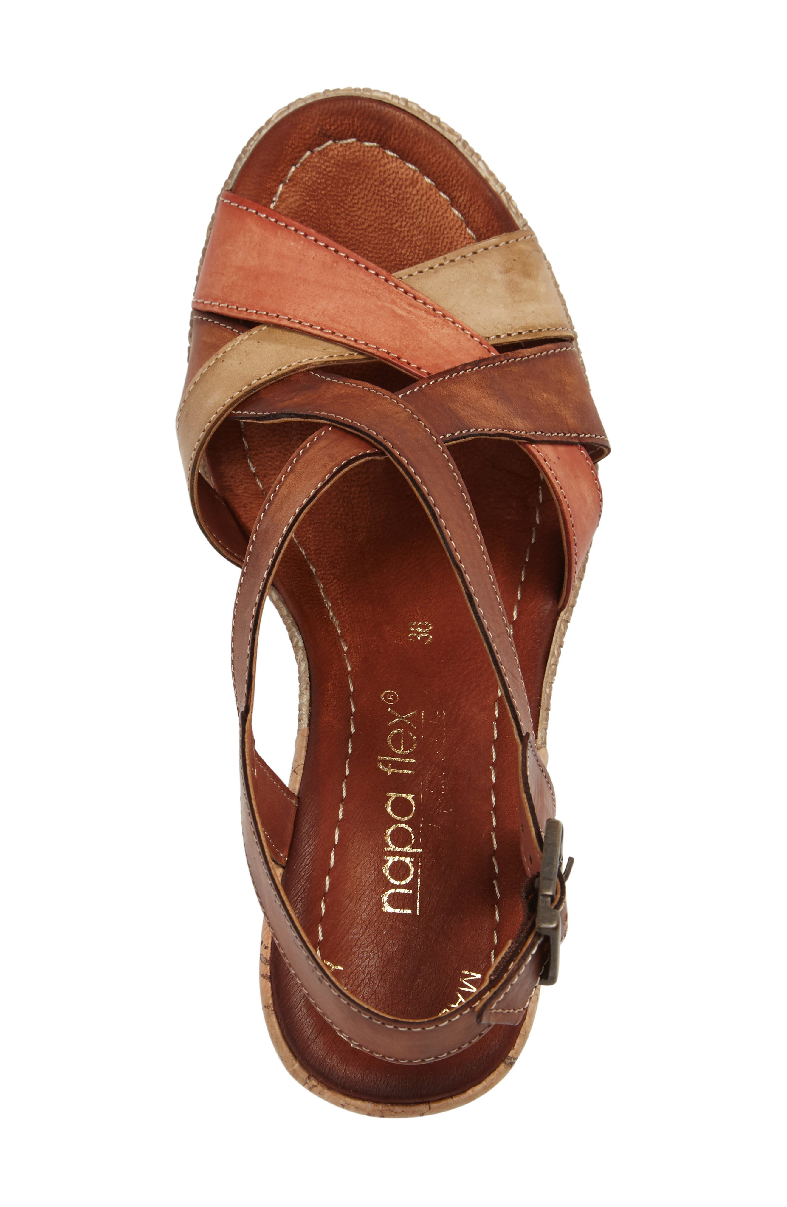 Modena Wedge Sandal,                             Alternate thumbnail 3, color,                             Cognac Leather
