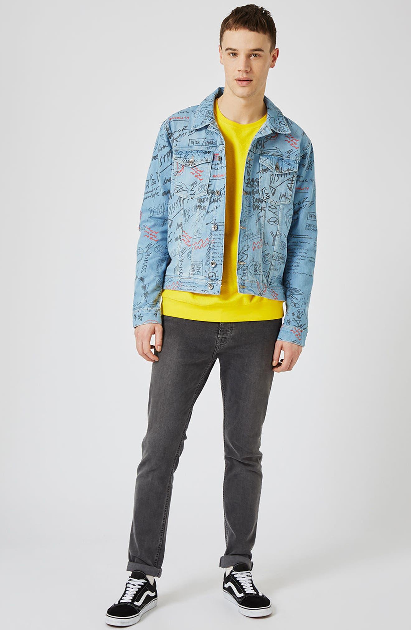 Alternate Image 2  - Topman Doodle Denim Jacket