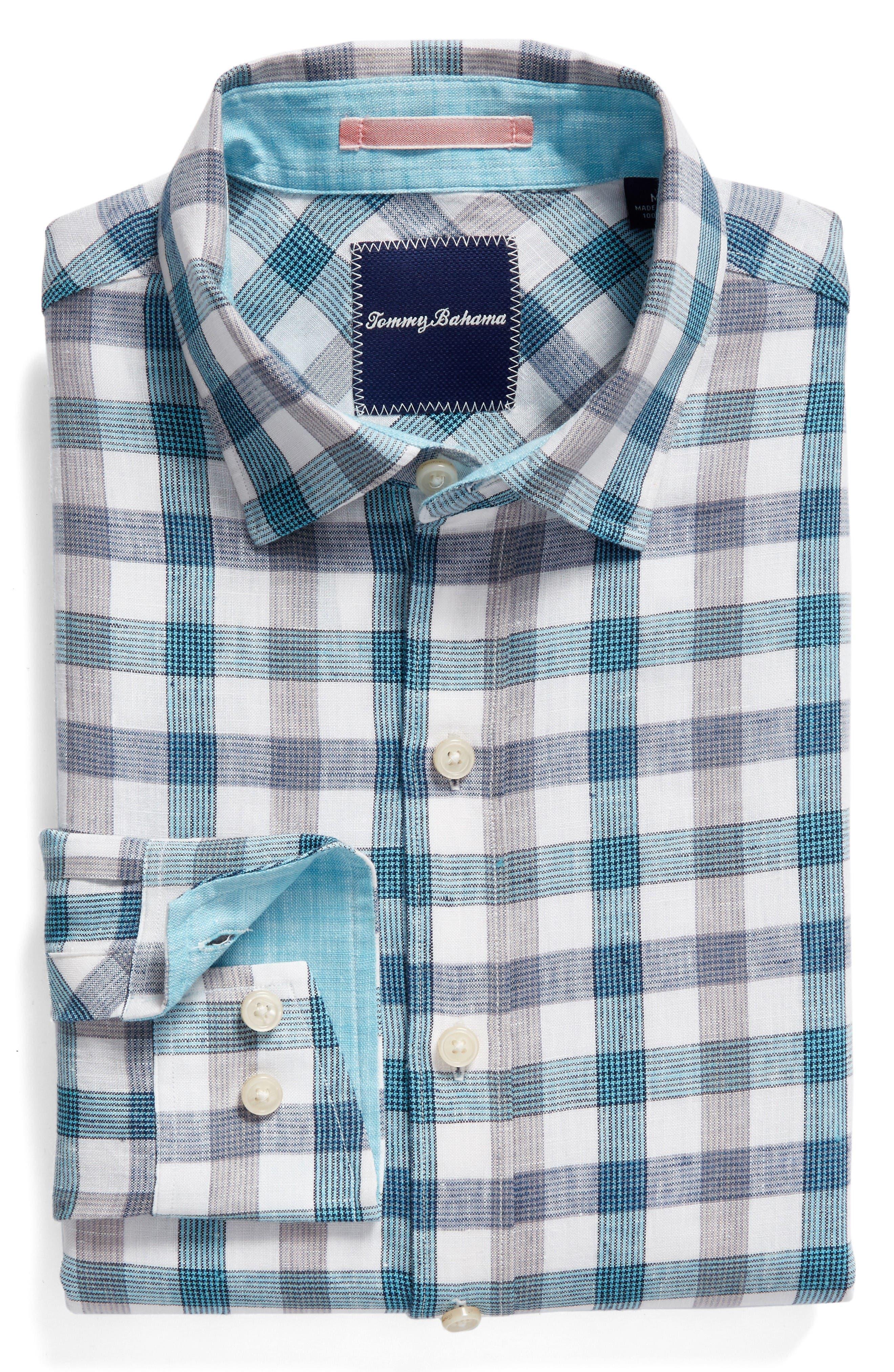 Thira Check Linen Sport Shirt,                             Alternate thumbnail 6, color,                             Download Blue