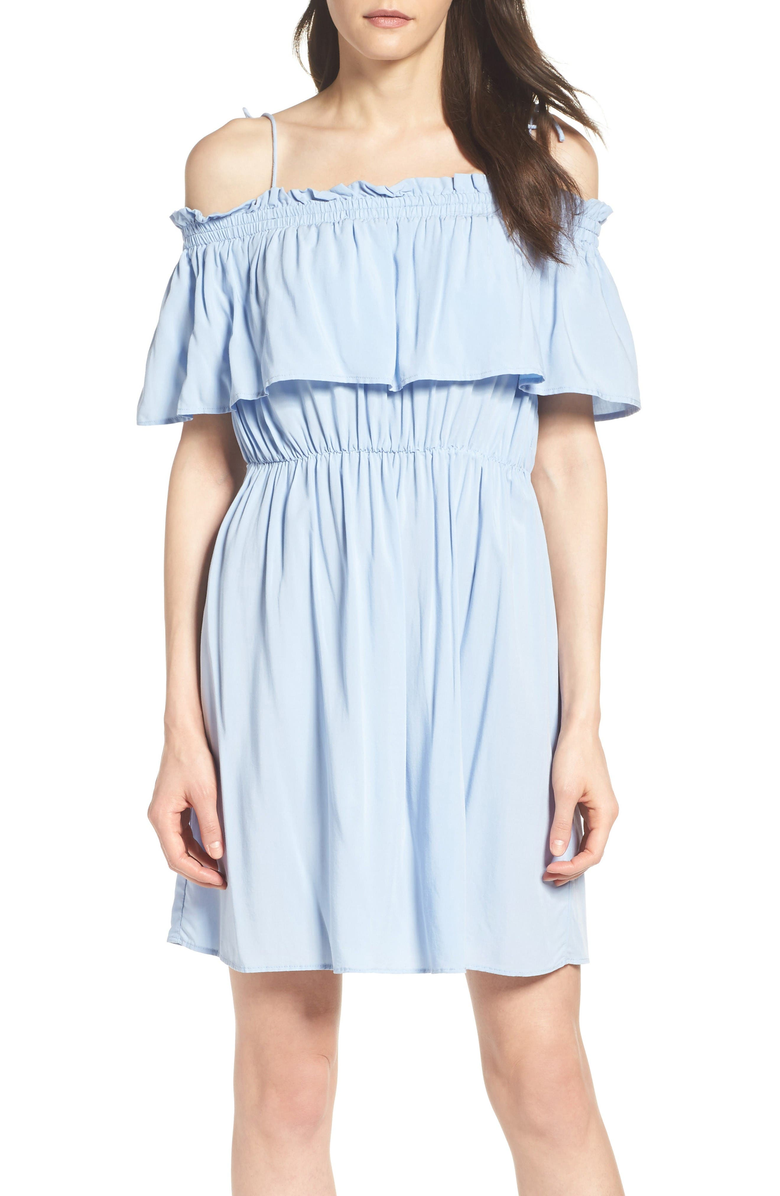 Chelsea Ruffle Bodice Off the Shoulder Dress,                             Main thumbnail 1, color,                             Sky Blue