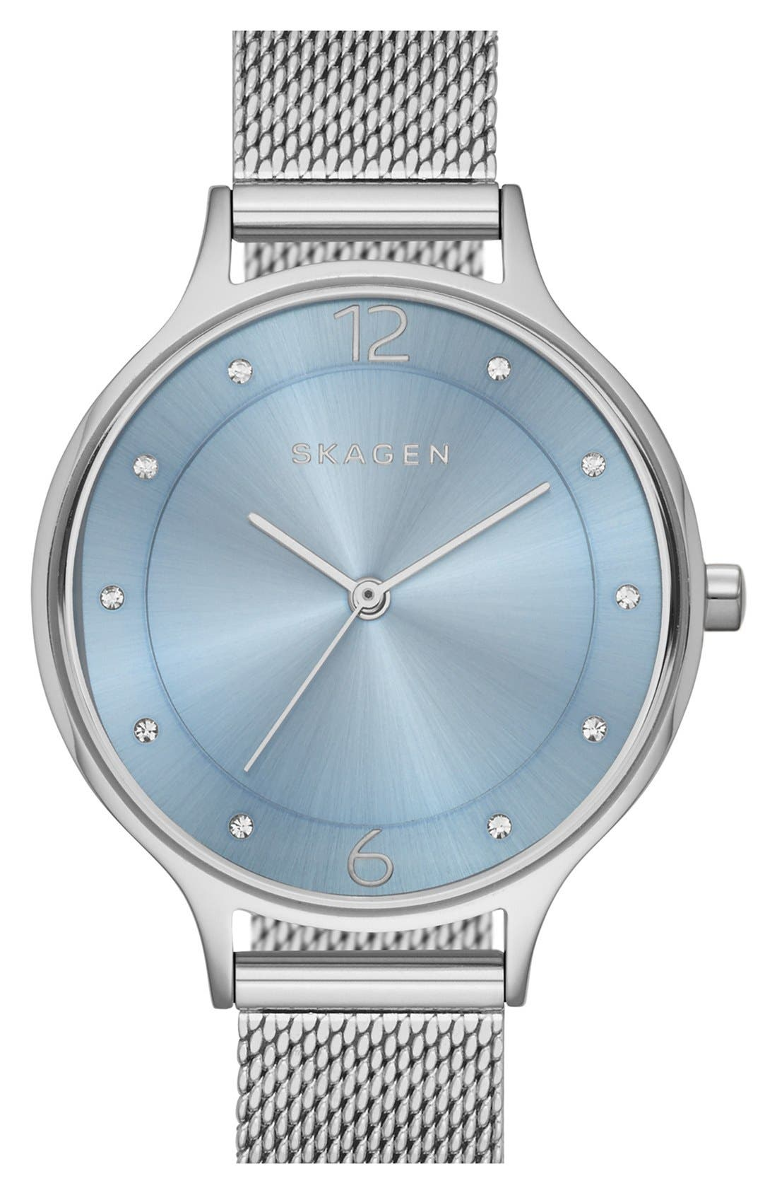 Main Image - Skagen 'Anita' Crystal Index Mesh Strap Watch, 30mm