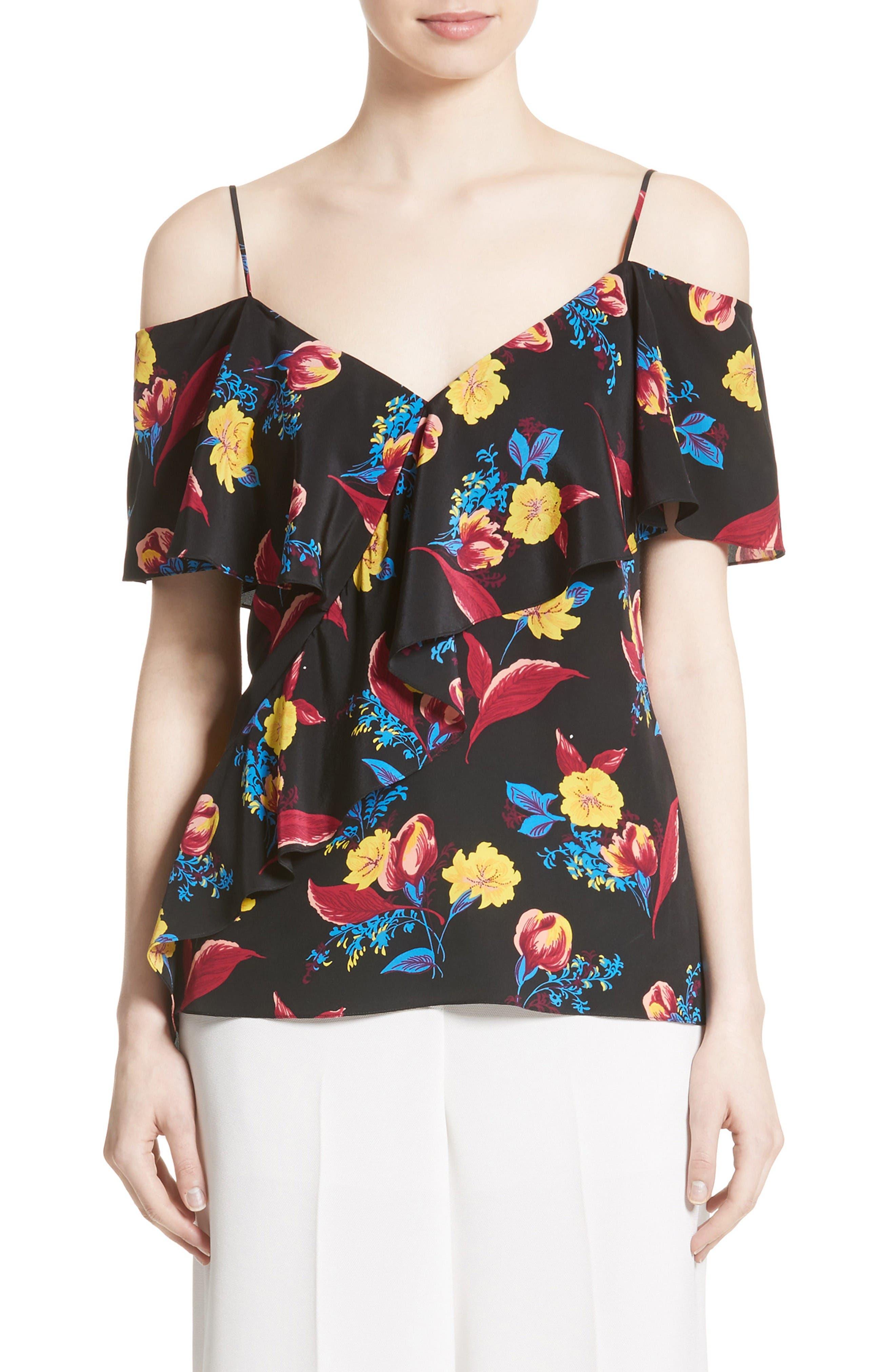 Alternate Image 1 Selected - Diane von Furstenberg Off the Shoulder Floral Silk Blouse