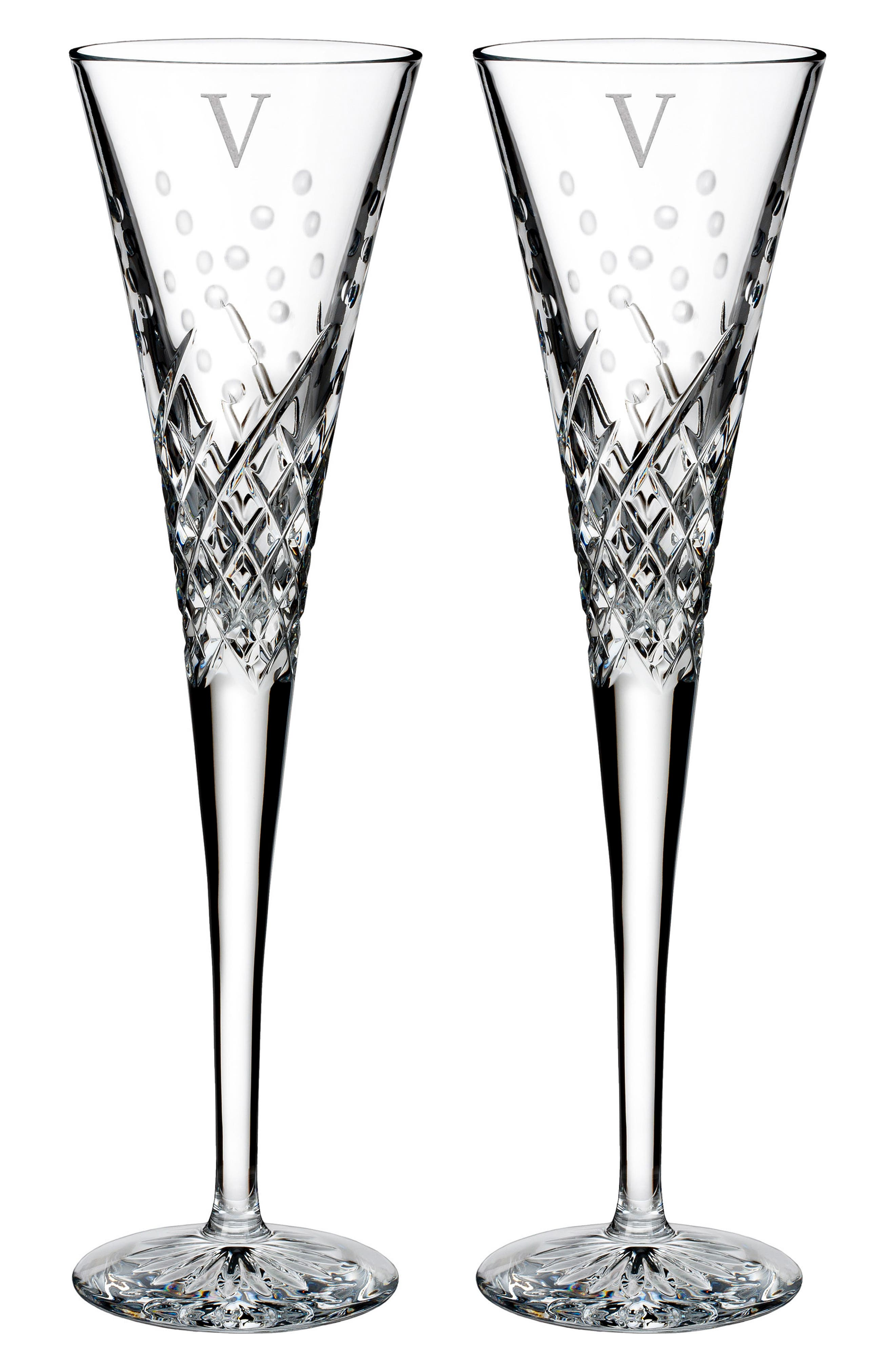 Waterford Happy Celebrations Set of 2 Monogram Lead Crystal Champagne Flutes