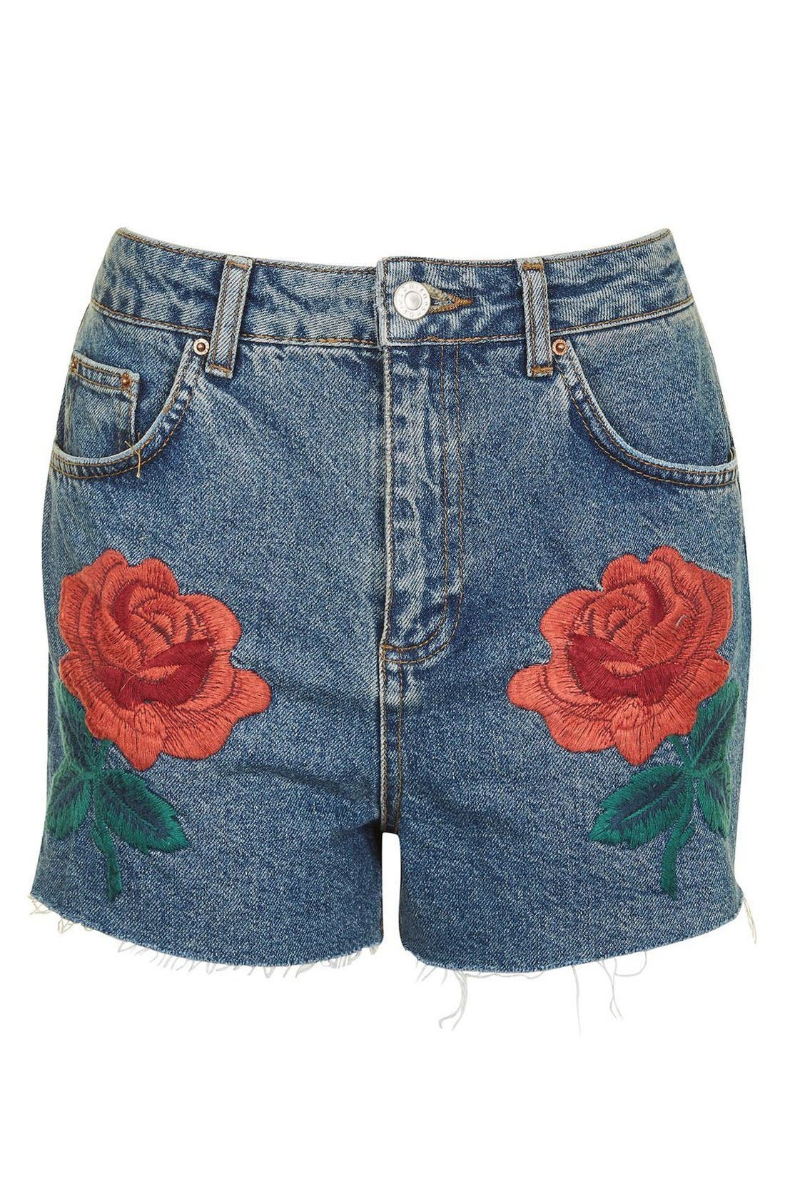 Rose Embroidered Mom Shorts,                             Main thumbnail 1, color,                             Mid Denim