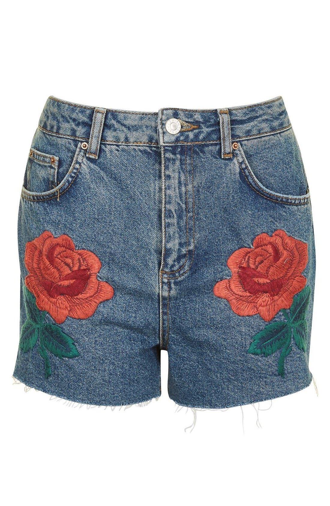 Main Image - Topshop Rose Embroidered Mom Shorts