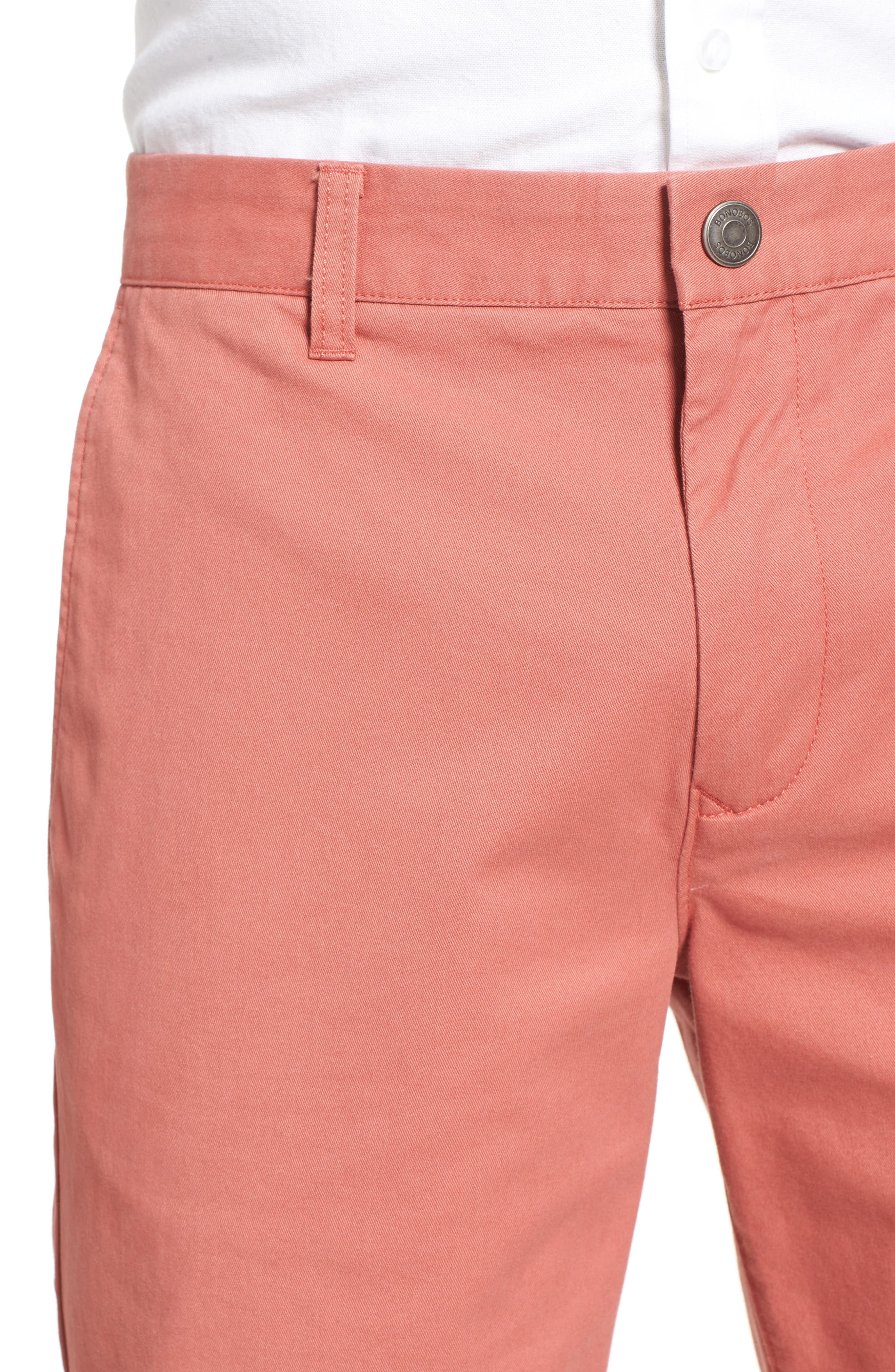 Stretch Washed Chino 7-Inch Shorts,                             Alternate thumbnail 4, color,                             Rich Coral