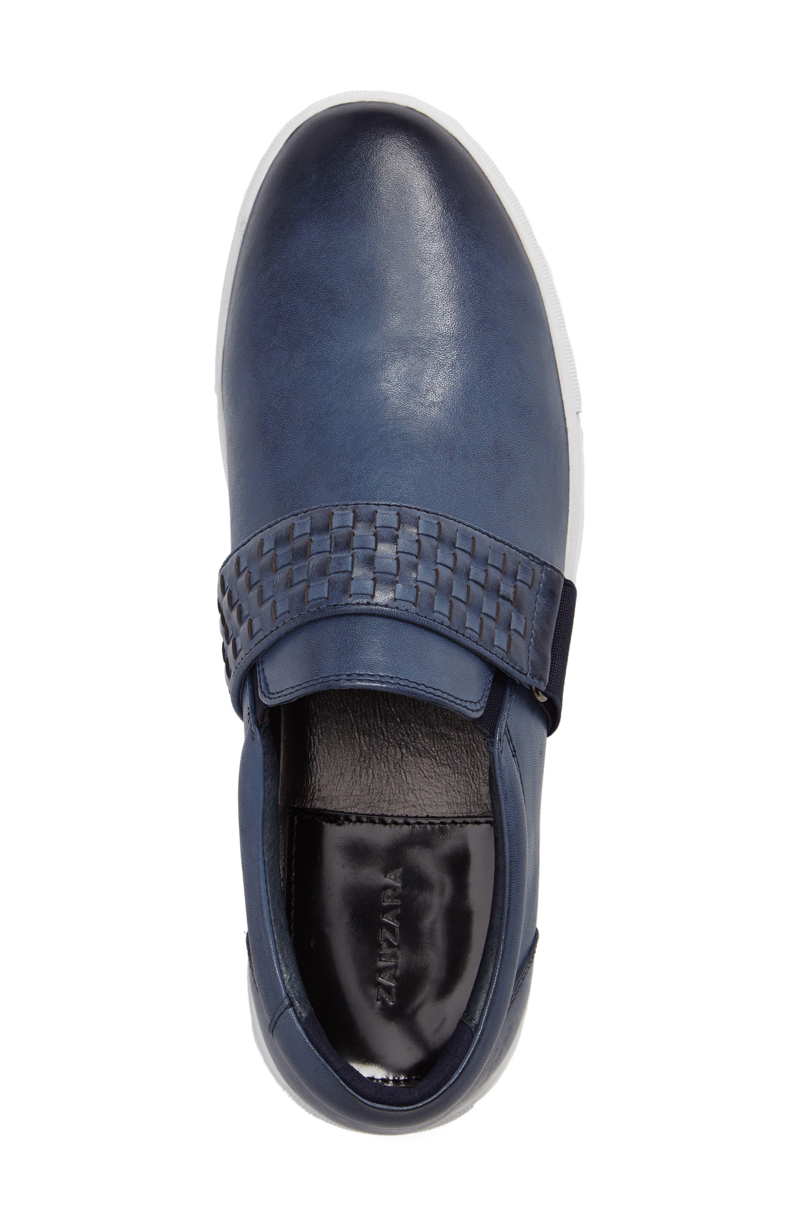 Van Gogh Slip-On Sneaker,                             Alternate thumbnail 3, color,                             Navy Leather