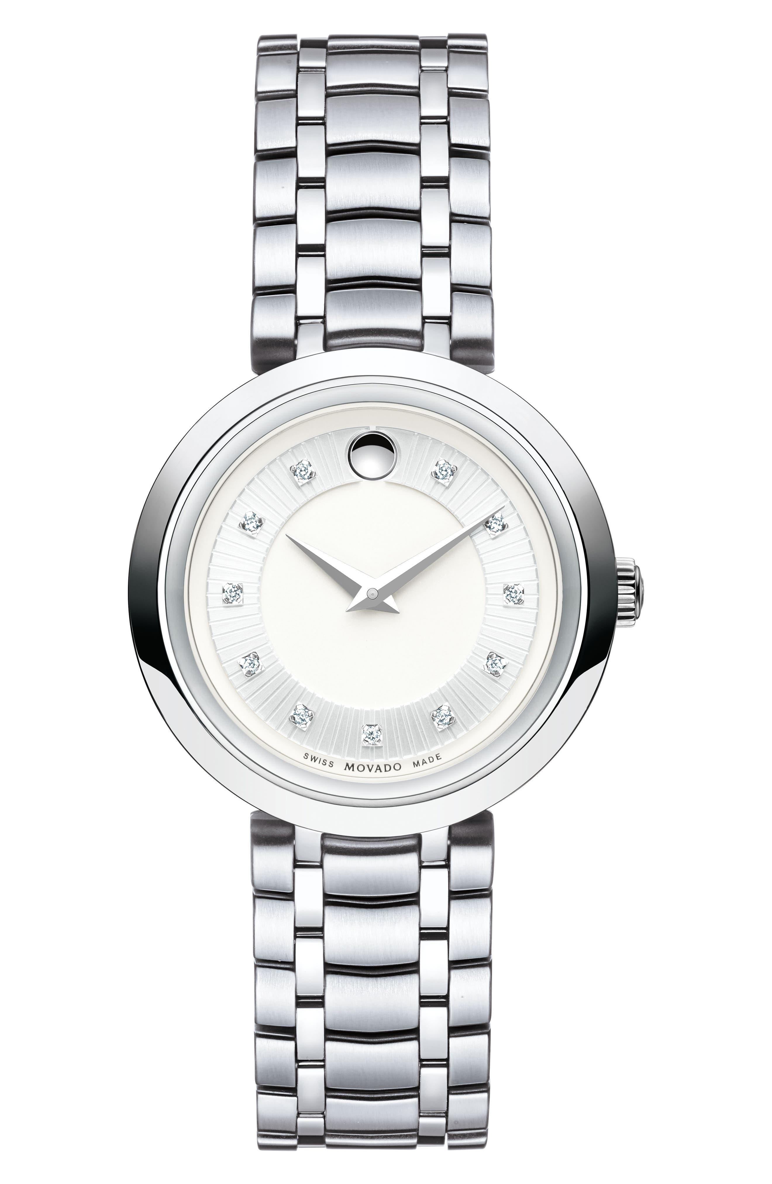 Alternate Image 1 Selected - Movado 1881 Diamond Bracelet Watch, 28mm