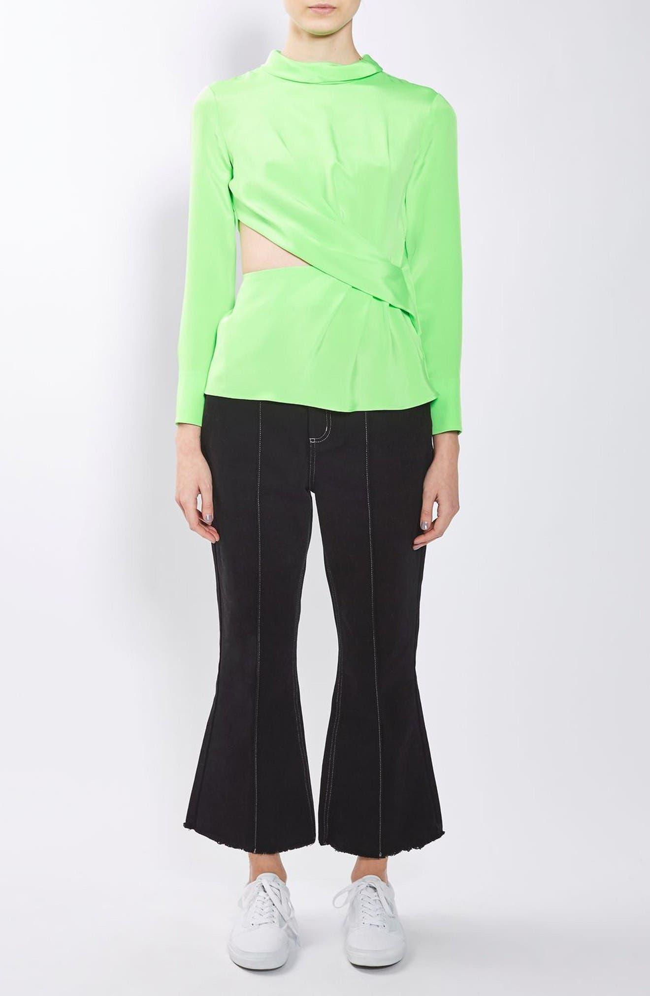 Twist Cutout Silk Top,                             Alternate thumbnail 5, color,                             Bright Green