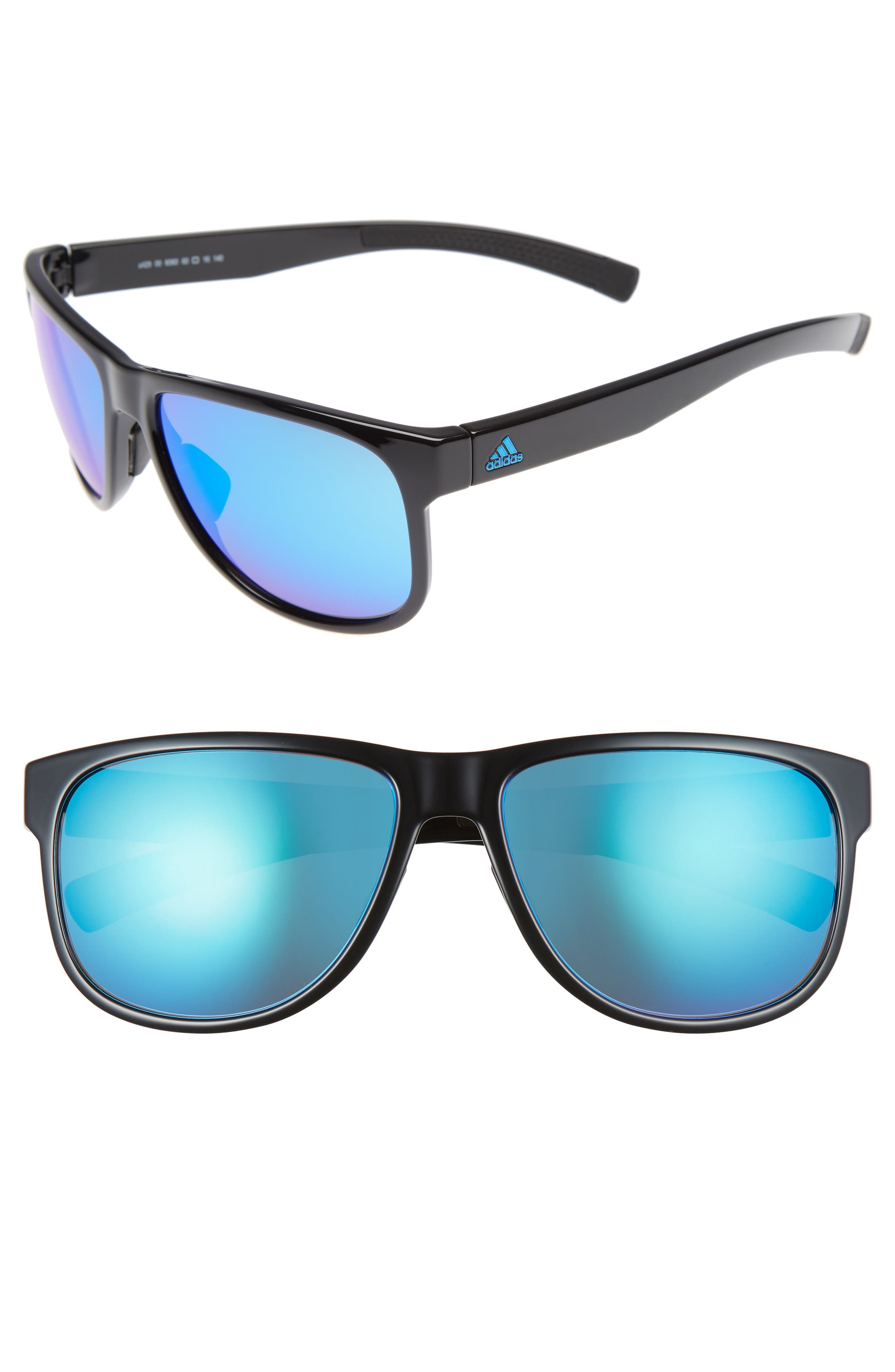 Sprung 60mm Sunglasses,                             Main thumbnail 1, color,                             Shiny Blue/ Blue Mirror