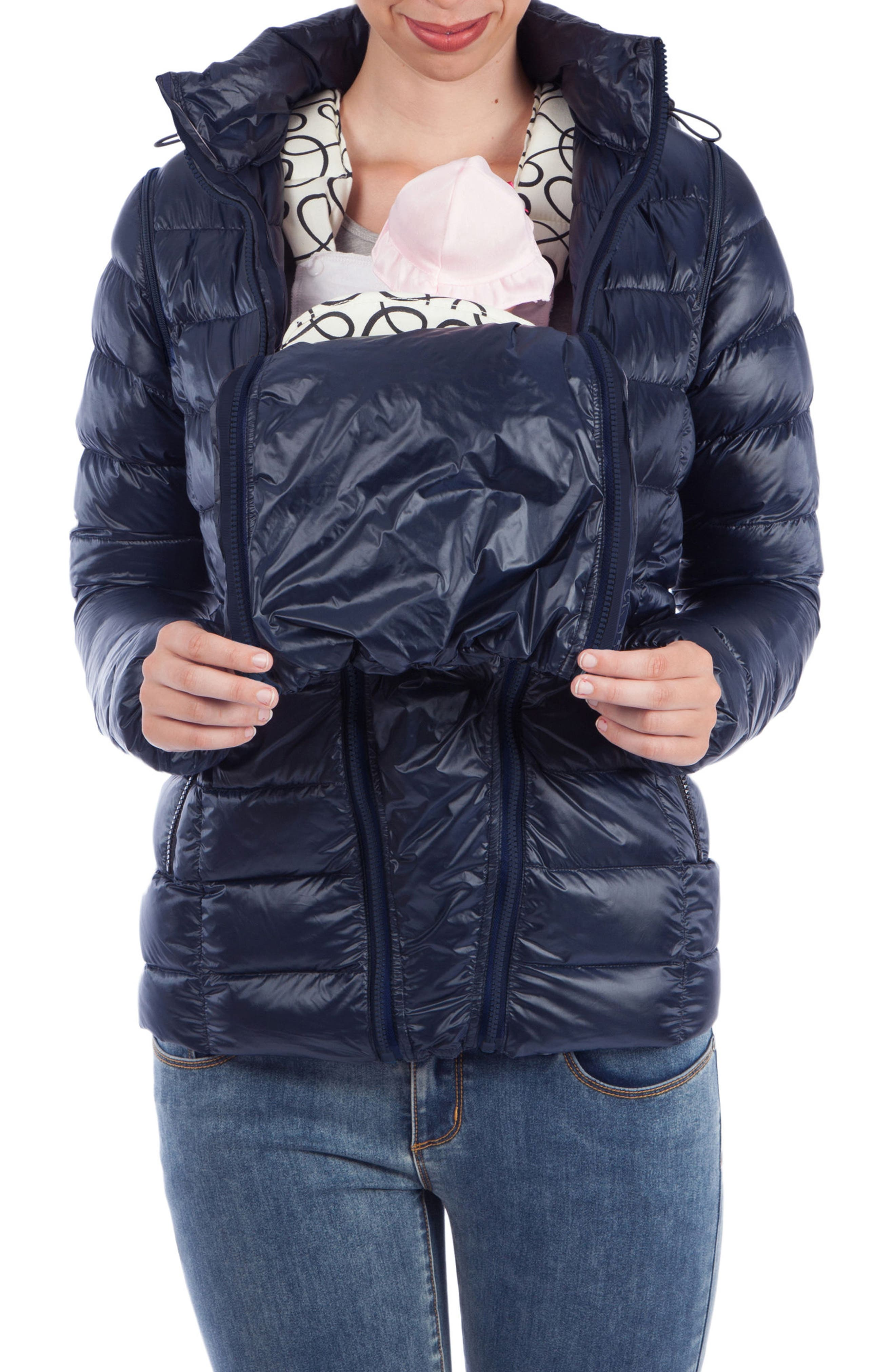 Alternate Image 4  - Modern Eternity Lightweight Puffer Convertible Maternity Jacket