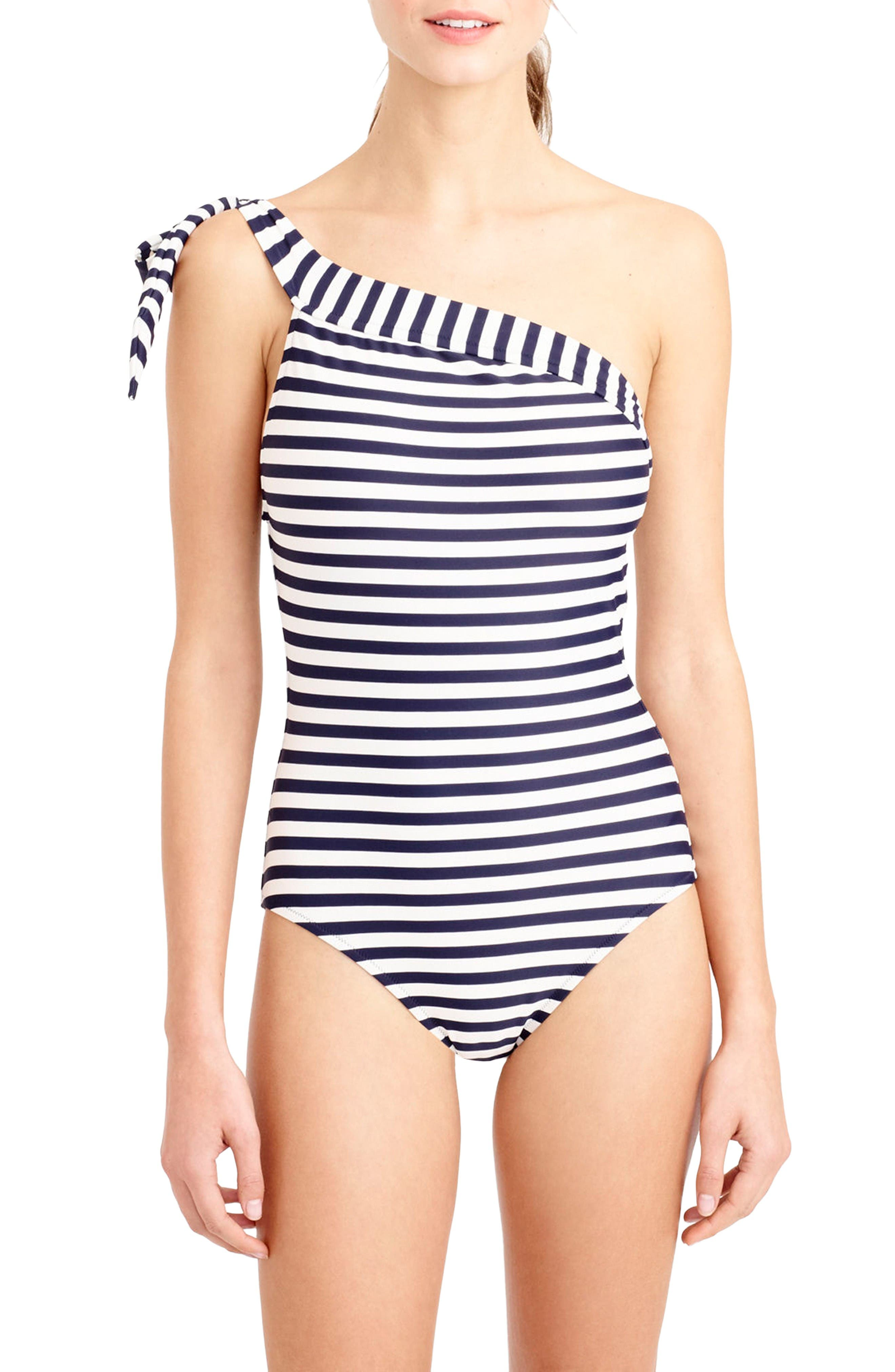 One-Shoulder Stripe One-Piece Swimsuit,                         Main,                         color, Navy Ivory