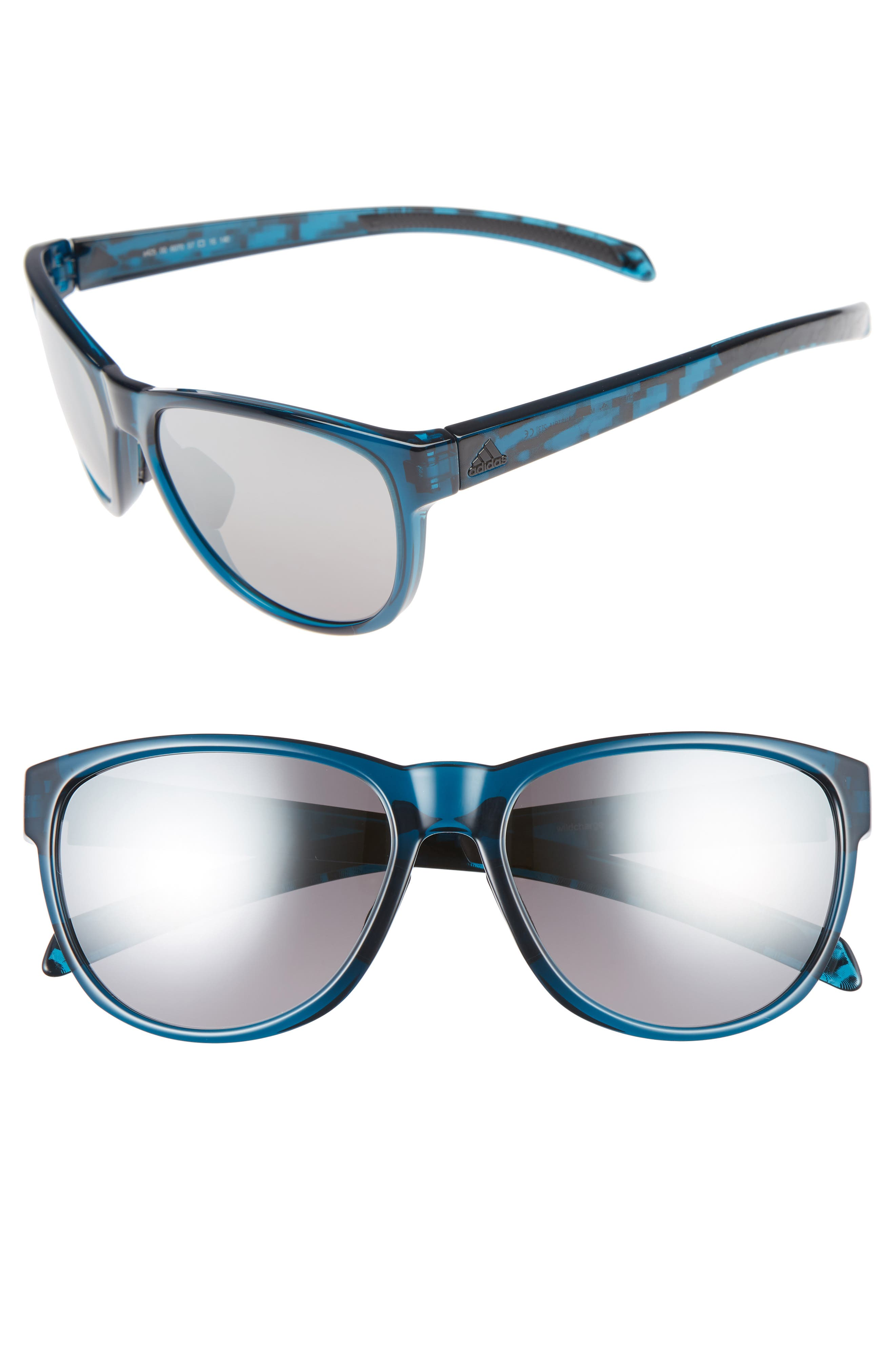 Wildcharge 61mm Mirrored Sunglasses,                         Main,                         color, Grey Blue/ Grey Mirror