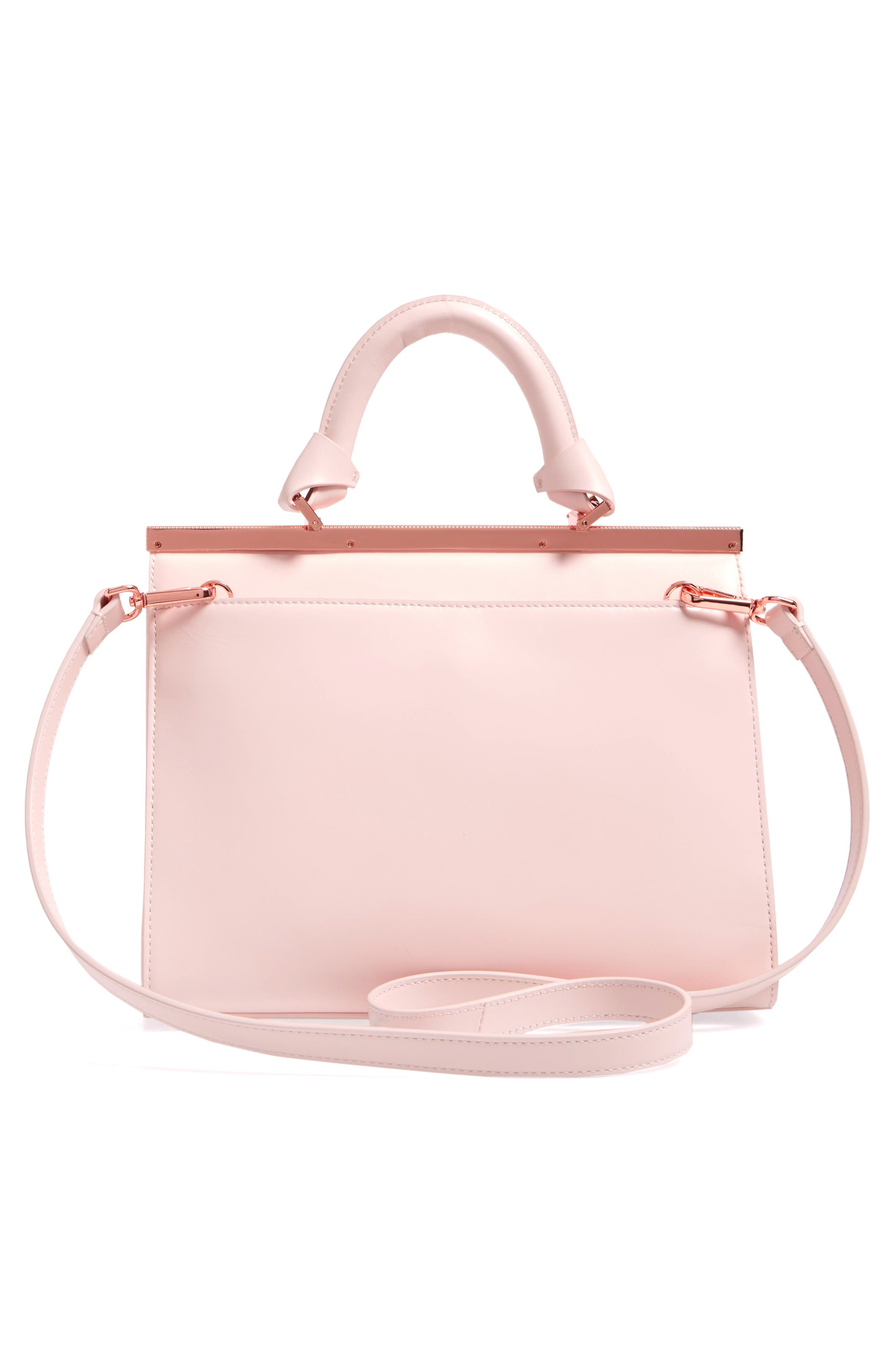 Croc Embossed Leather Satchel,                             Alternate thumbnail 3, color,                             Baby Pink