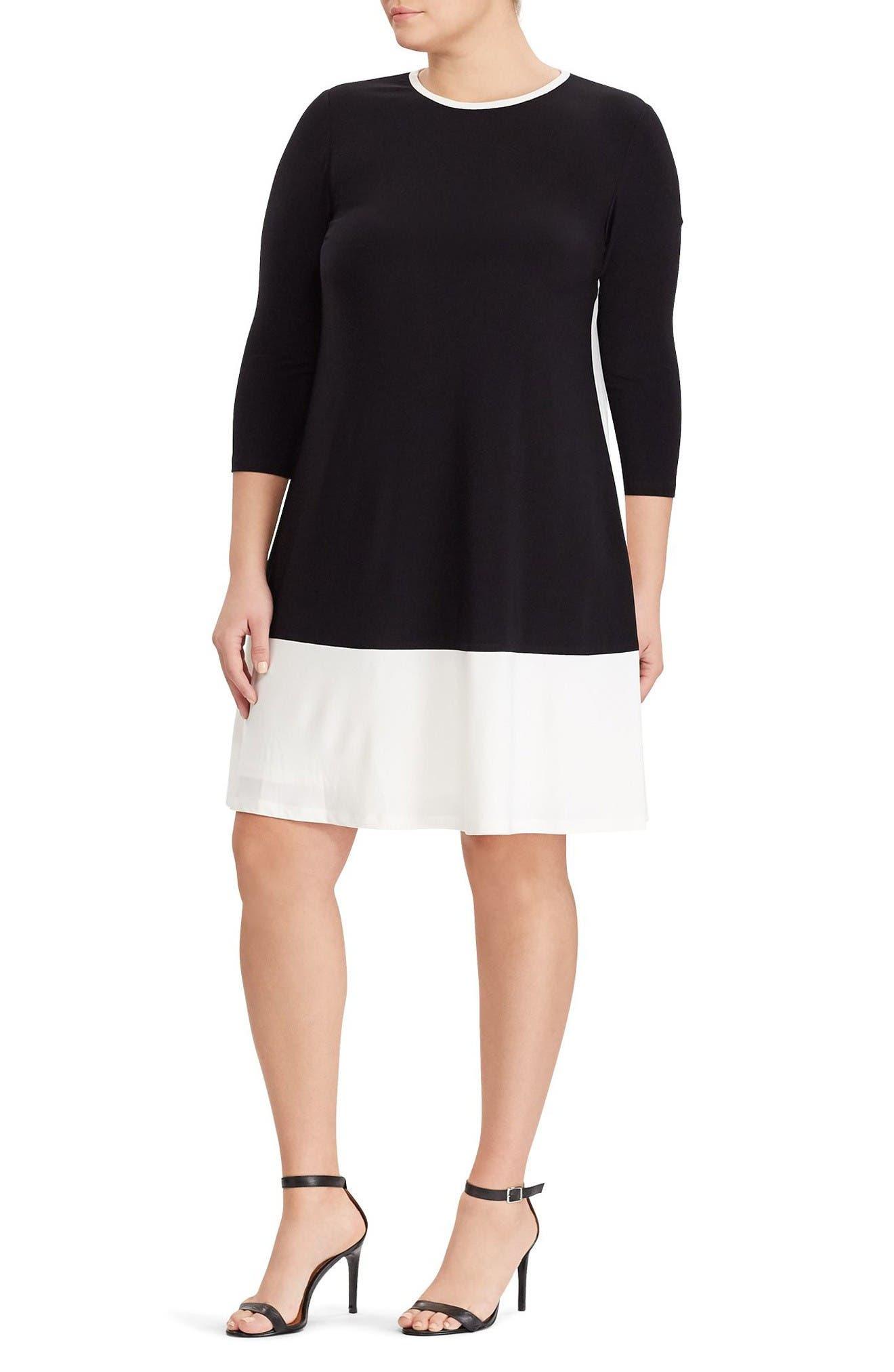 Colorblock Shift Dress,                         Main,                         color, Black/ Lauren White