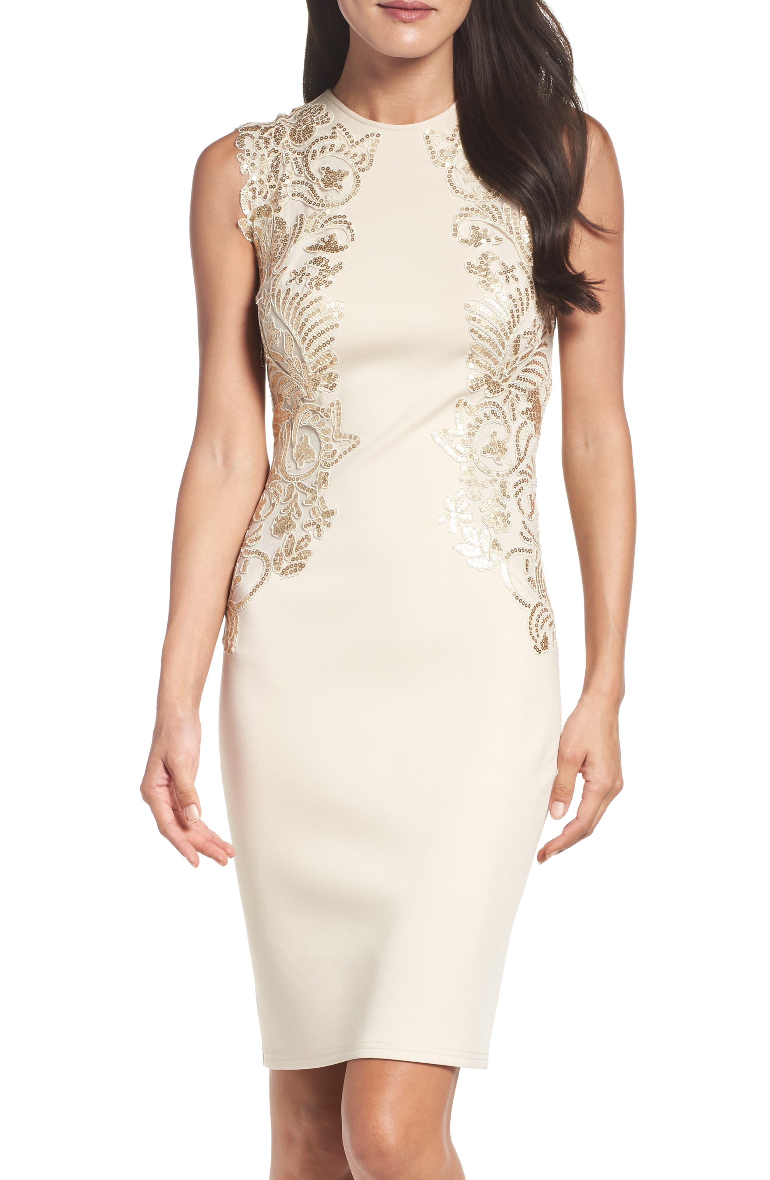 Sequin Appliqué Neoprene Sheath Dress,                         Main,                         color, Light Peach