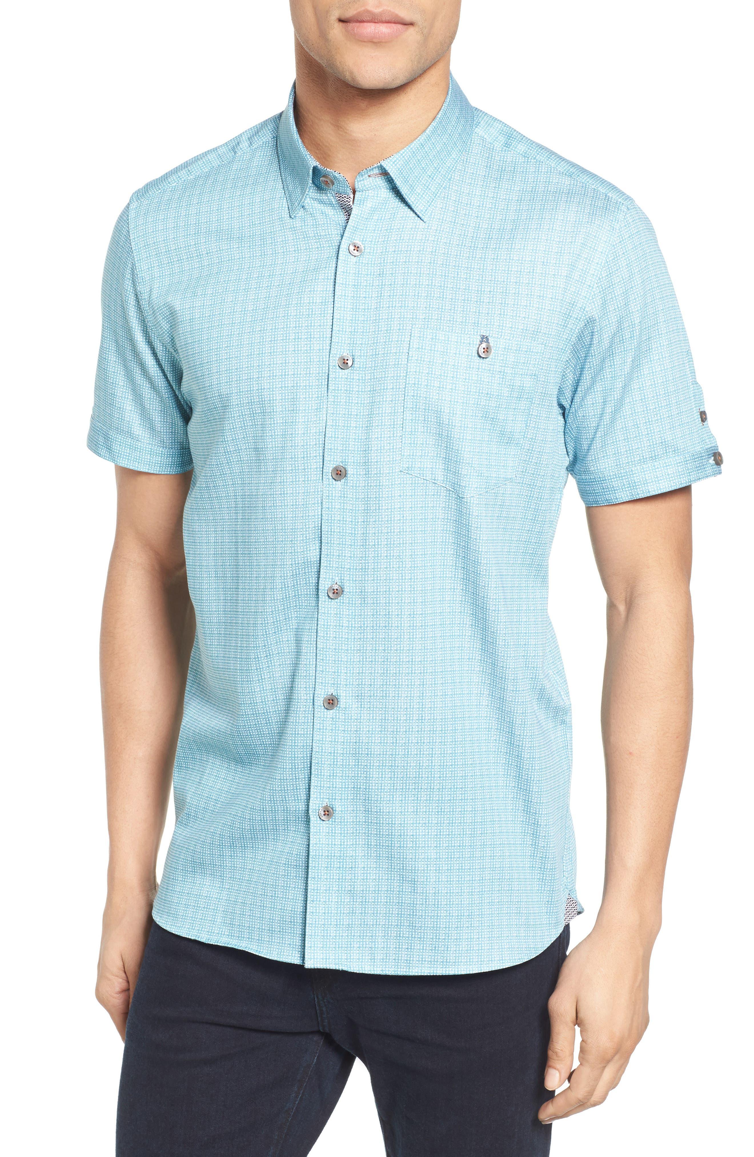 Ted Baker London Lorenze Extra Slim Fit Mini Print Sport Shirt