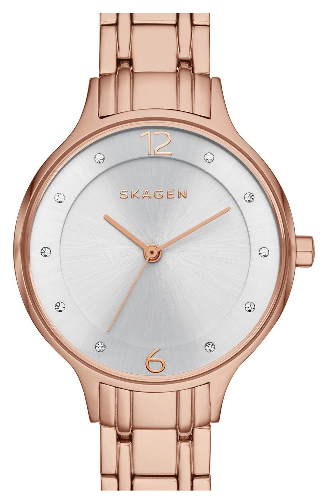 Alternate Image 1 Selected - Skagen 'Anita' Crystal Index Bracelet Watch, 30mm