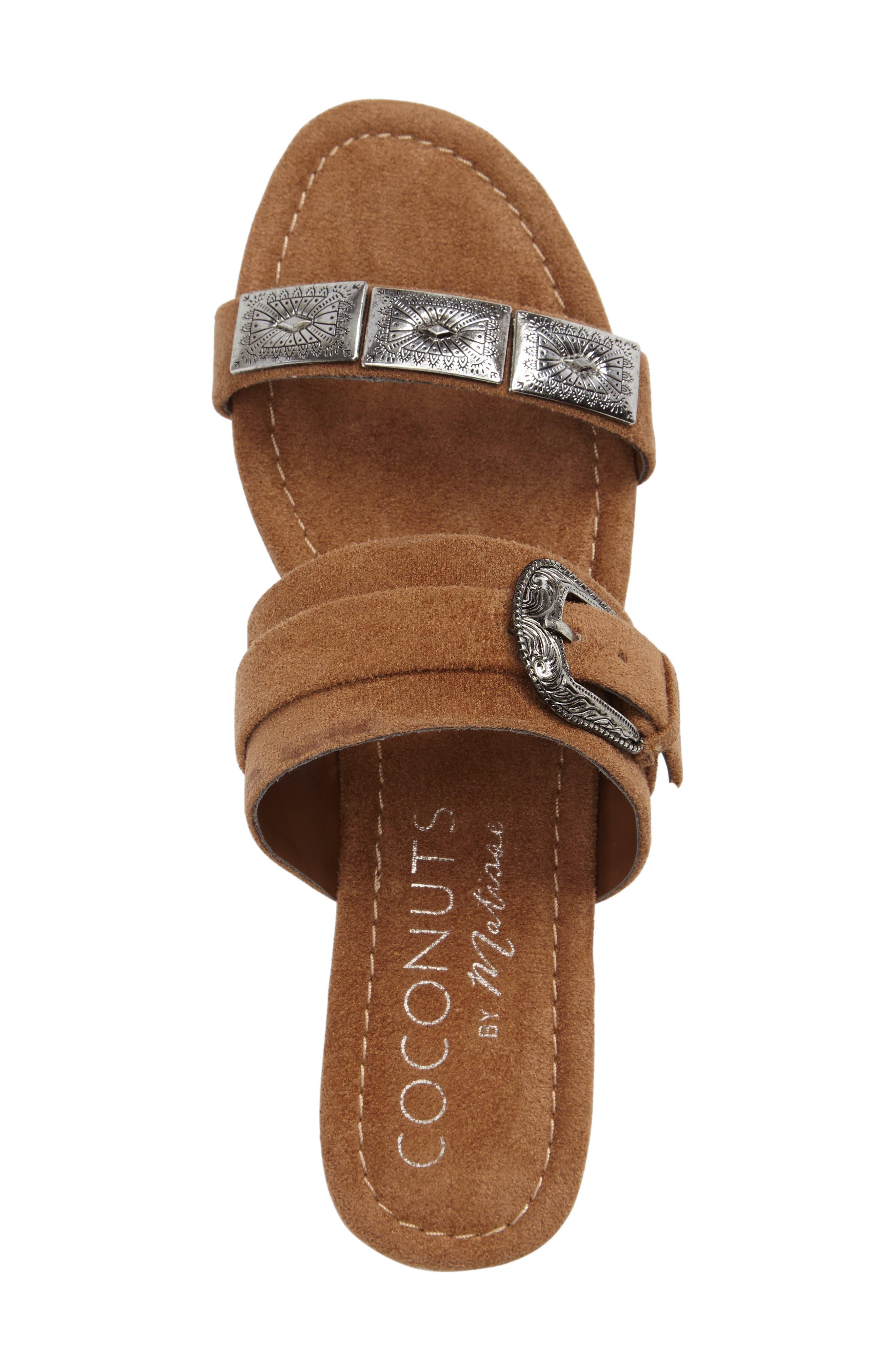 Brantley Buckle Slide Sandal,                             Alternate thumbnail 3, color,                             Saddle Suede