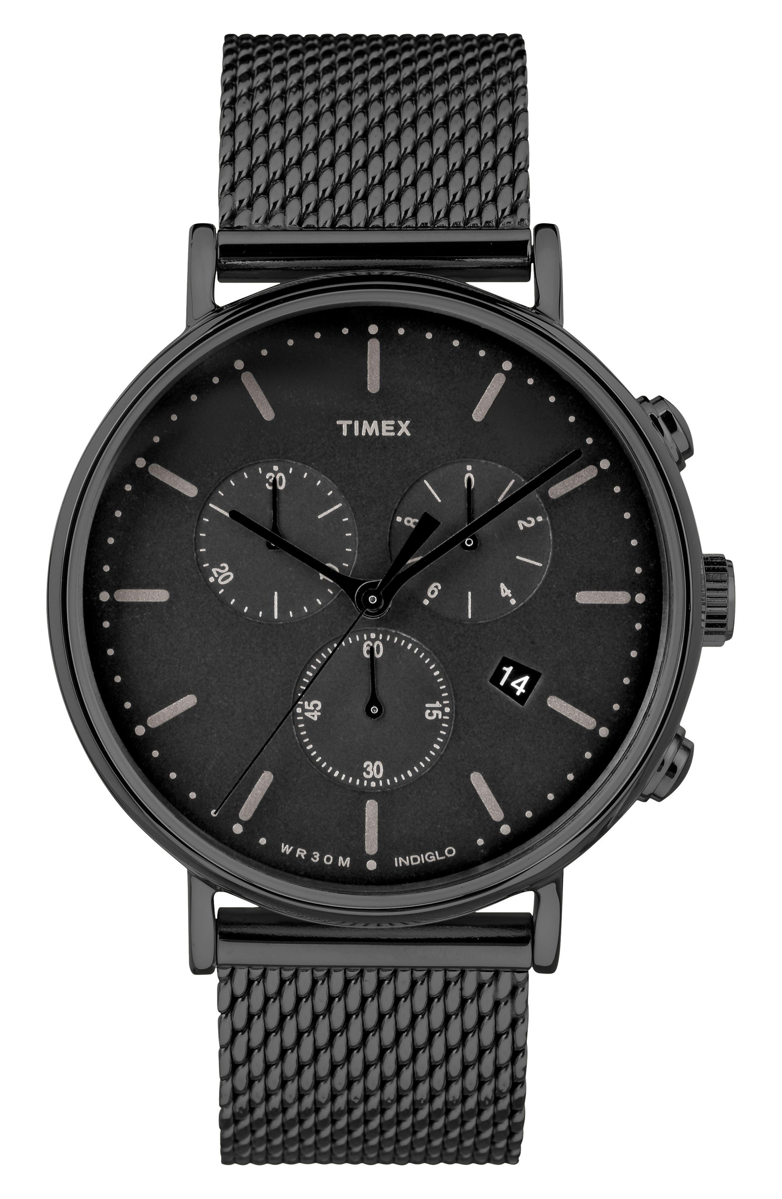 Fairfield Chronograph Mesh Strap Watch, 41mm,                         Main,                         color, Black