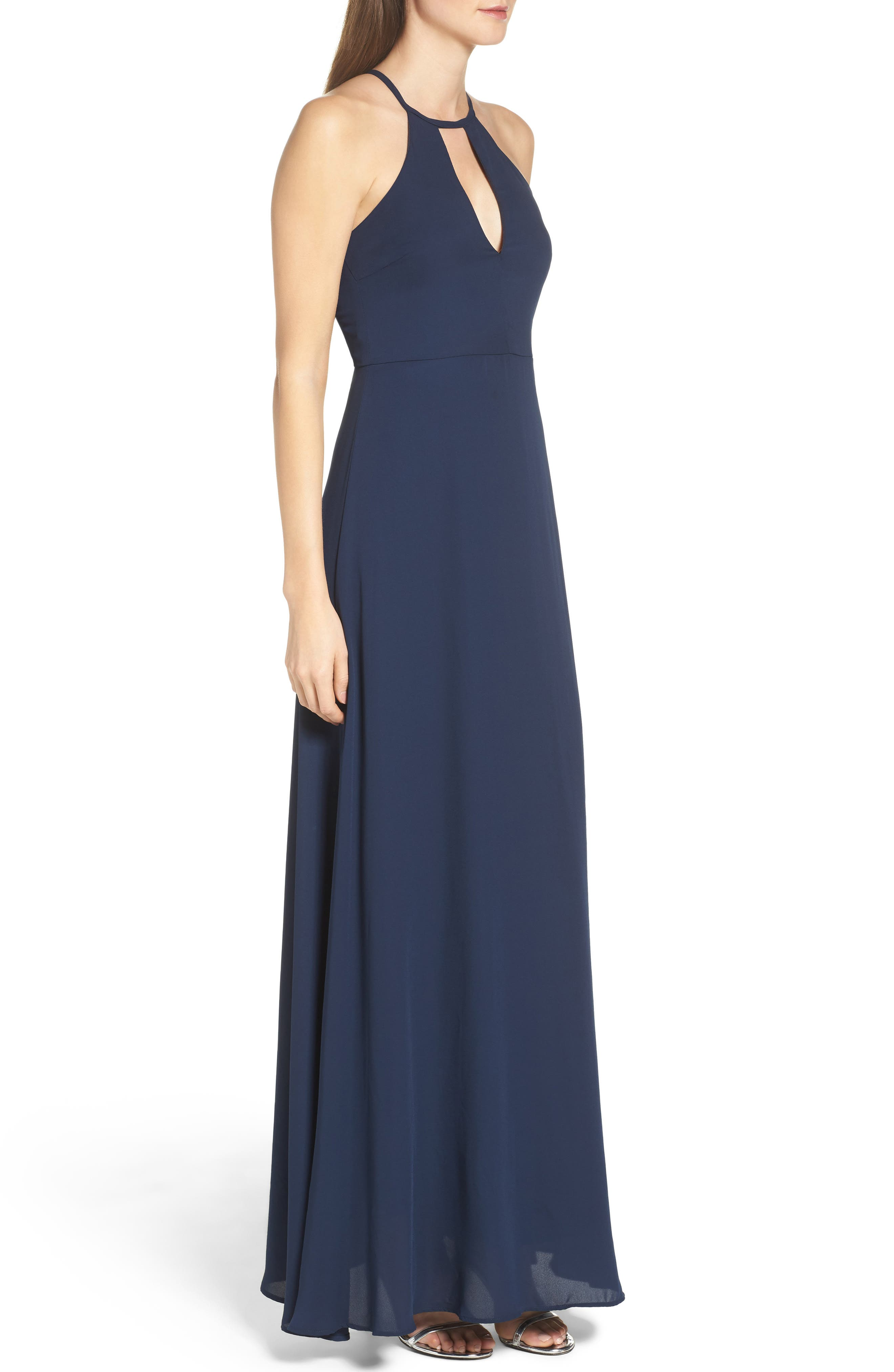 Halter A-Line Chiffon Gown,                             Alternate thumbnail 3, color,                             Navy
