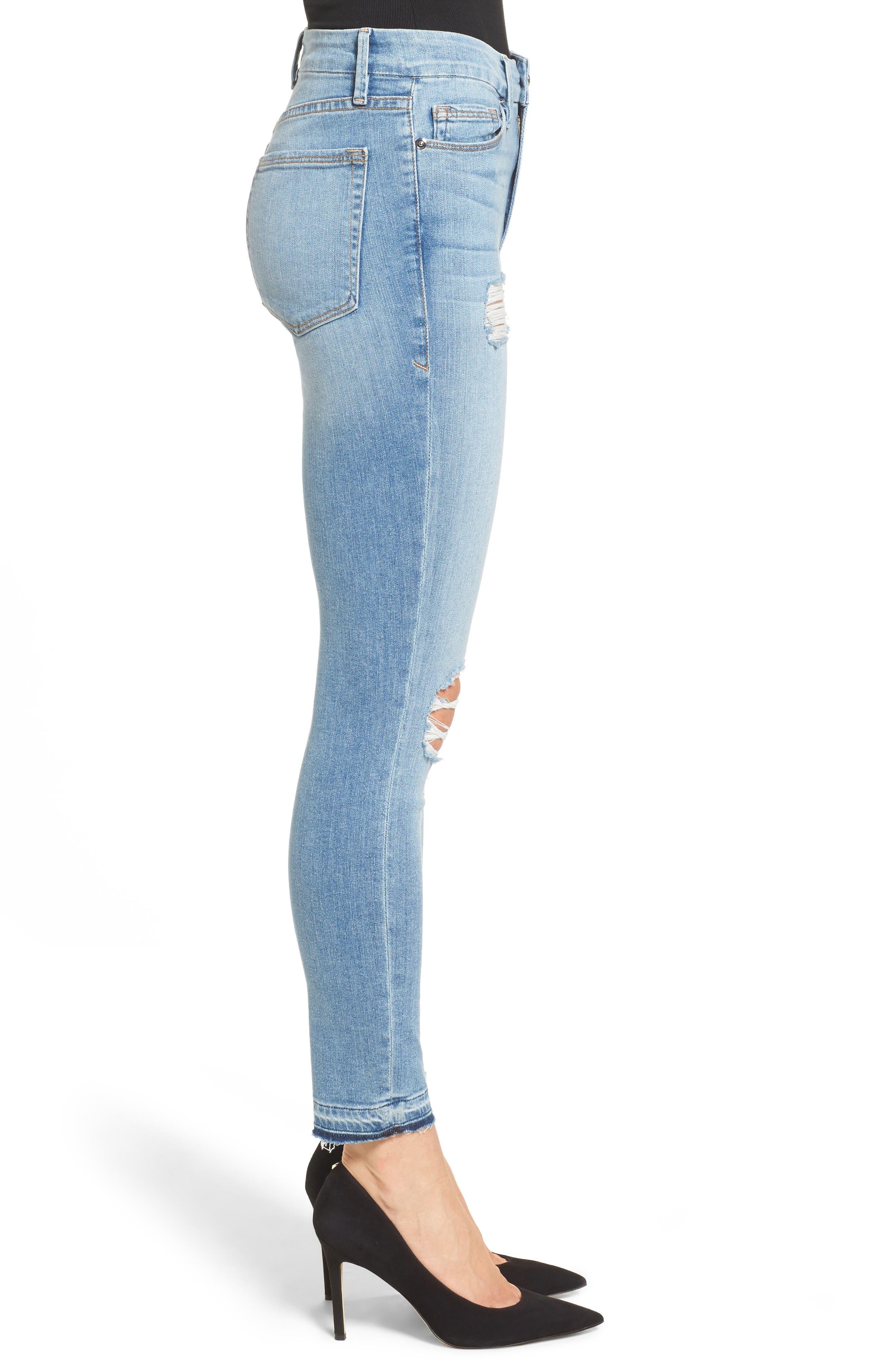 Good Legs Released Hem Skinny Jeans,                             Alternate thumbnail 3, color,                             Blue 023