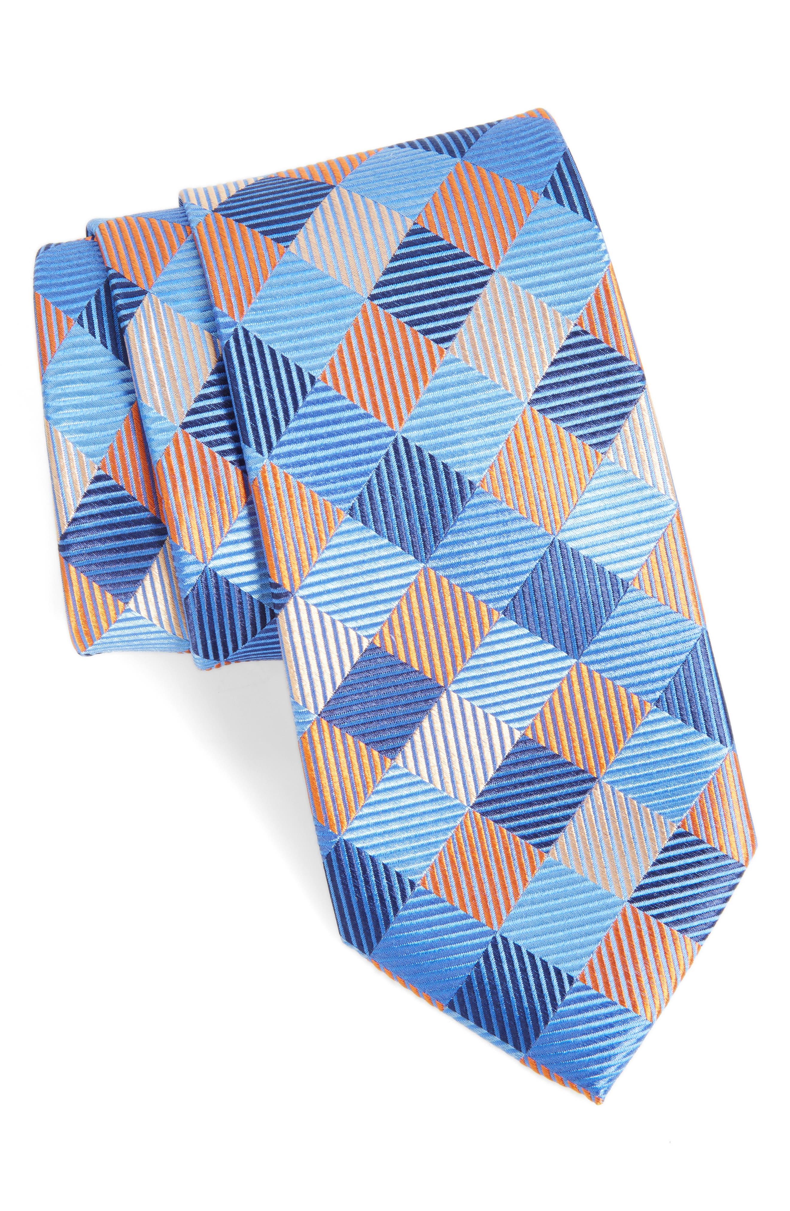 Check Silk Tie,                         Main,                         color, Orange