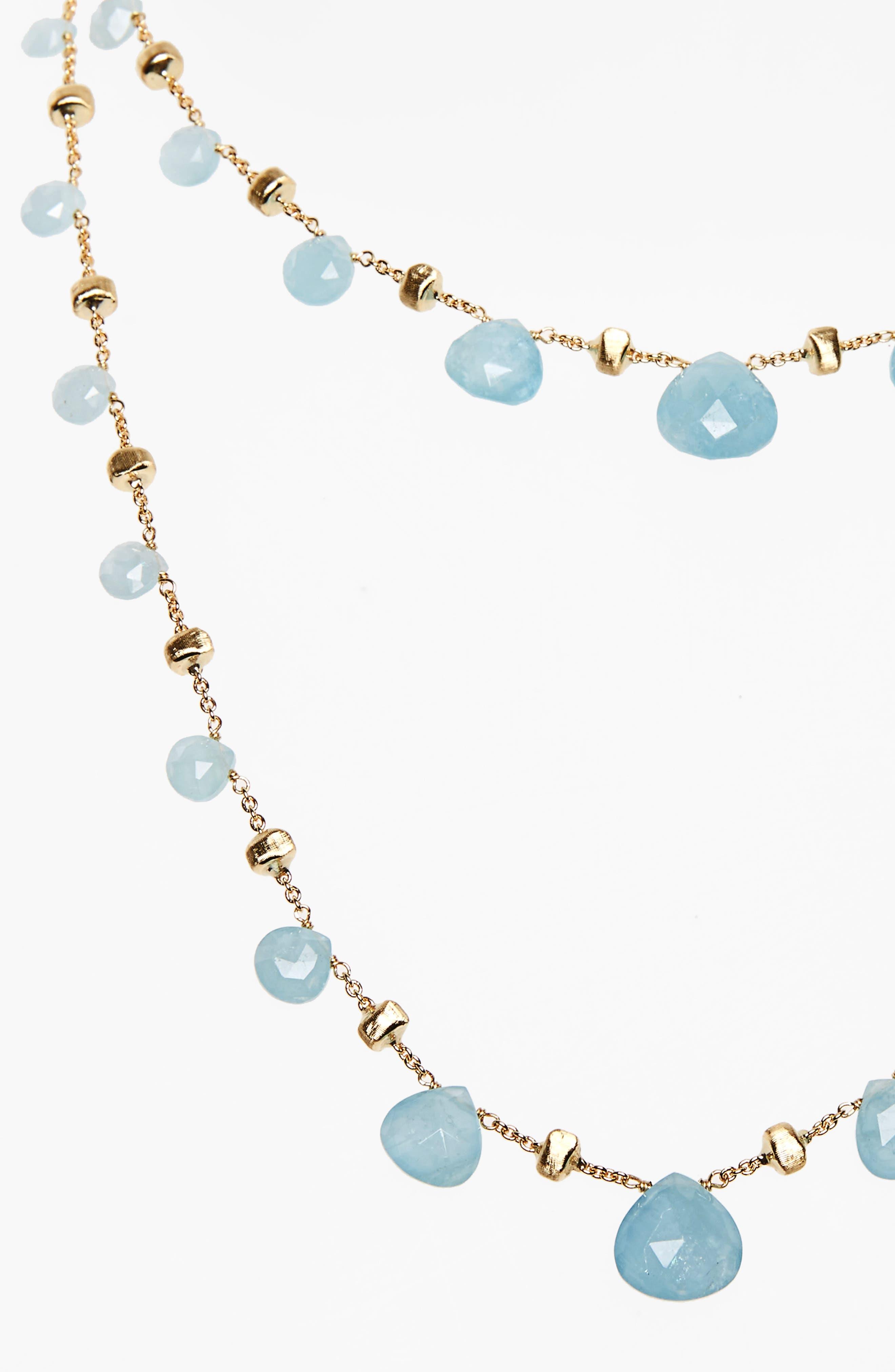 'Paradise' Long Station Necklace,                             Alternate thumbnail 3, color,                             Yellow Gold/ Aquamarine