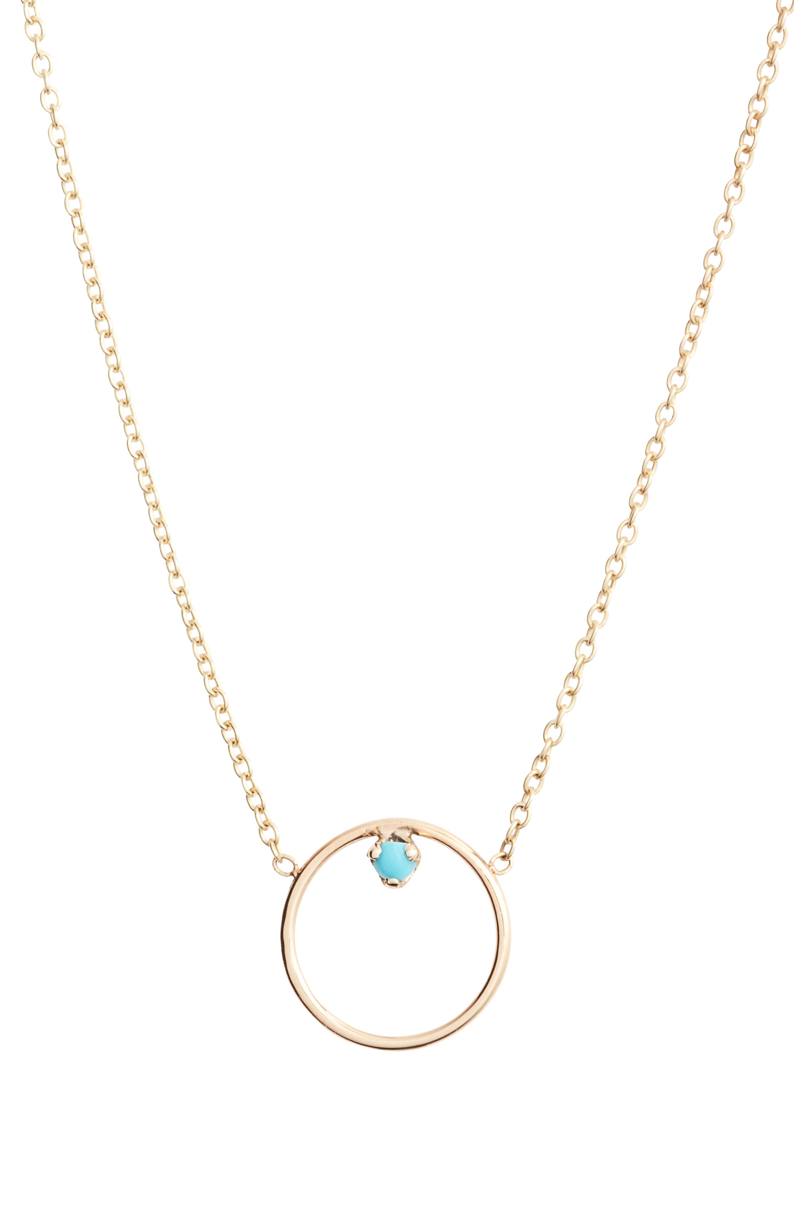 Alternate Image 1 Selected - Zoë Chicco Turquoise Circle Pendant Necklace