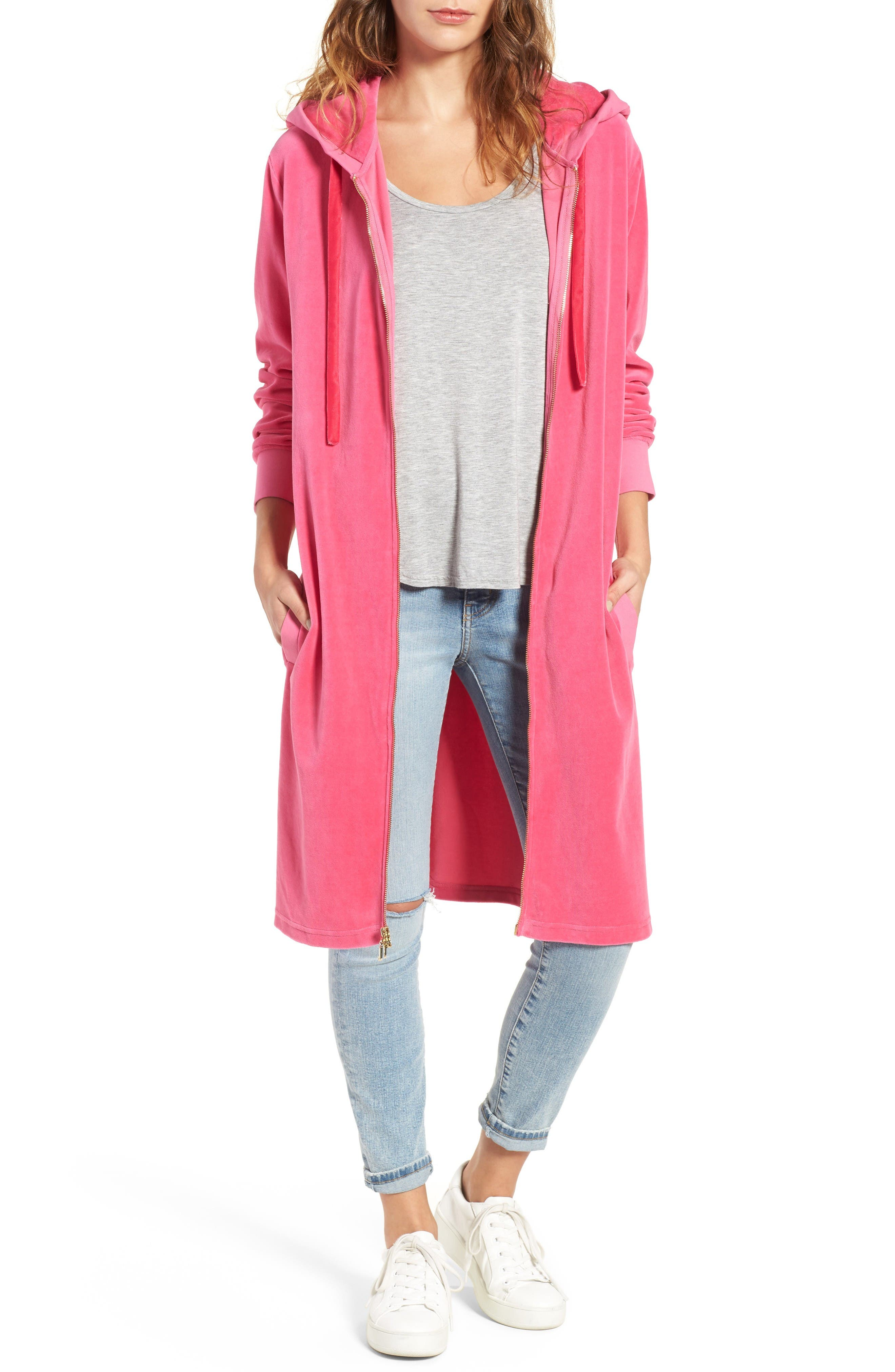 Longline Velour Hoodie,                         Main,                         color, Couture Pink