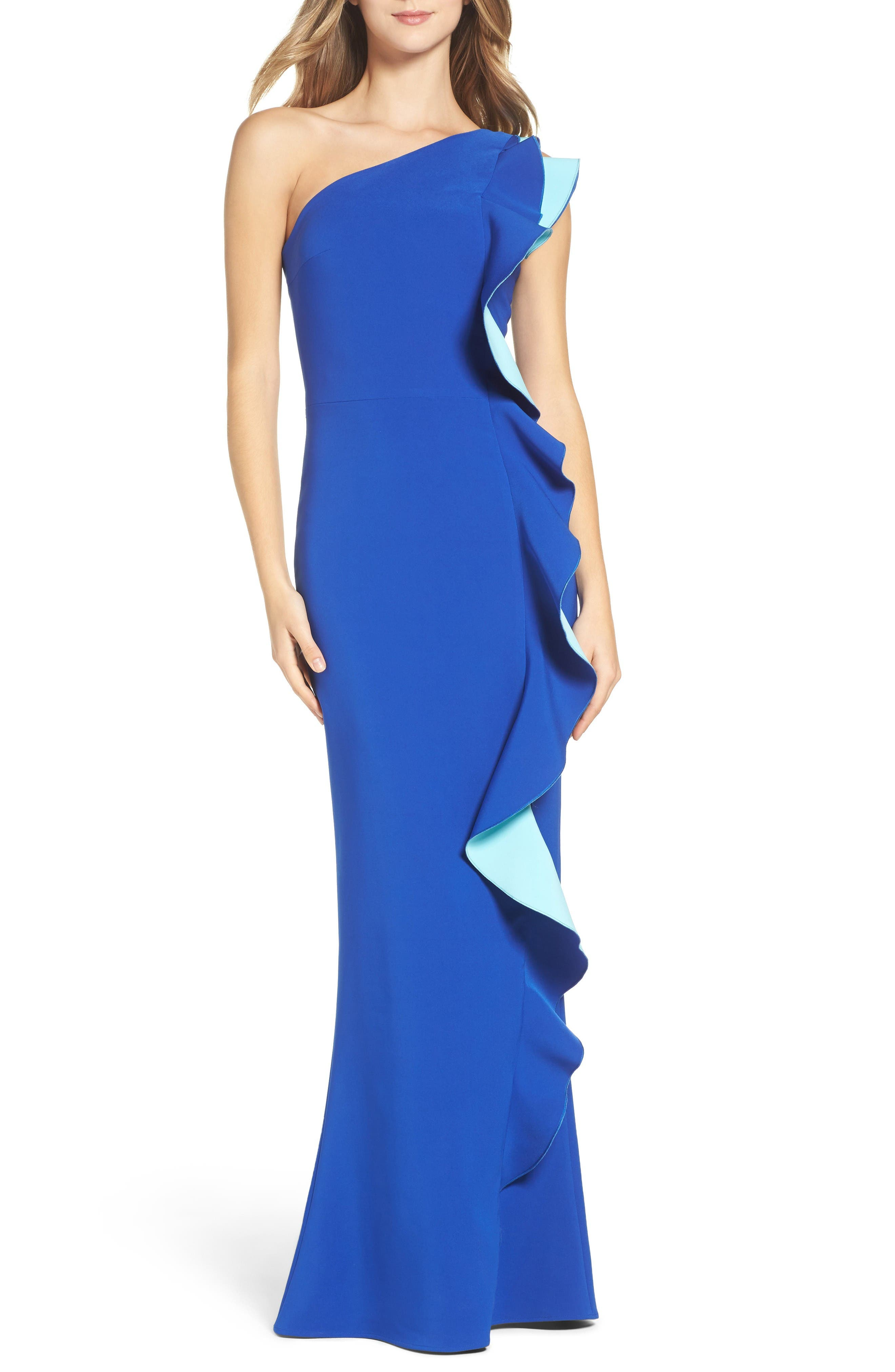 Alternate Image 1 Selected - Maria Bianca Nero Colorblock Ruffle One-Shoulder Gown