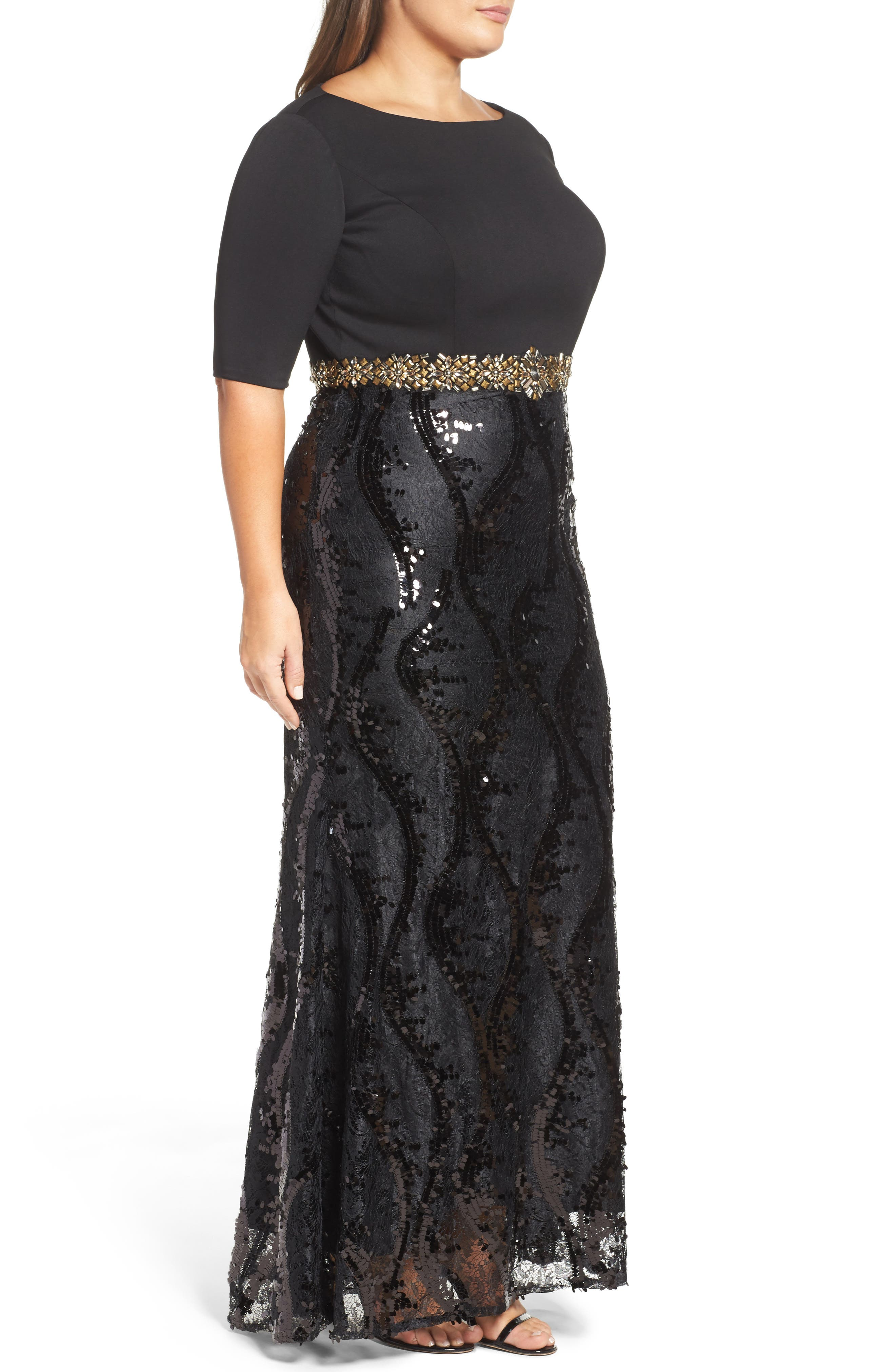 Embellished Mixed Media Gown,                             Alternate thumbnail 3, color,                             Black