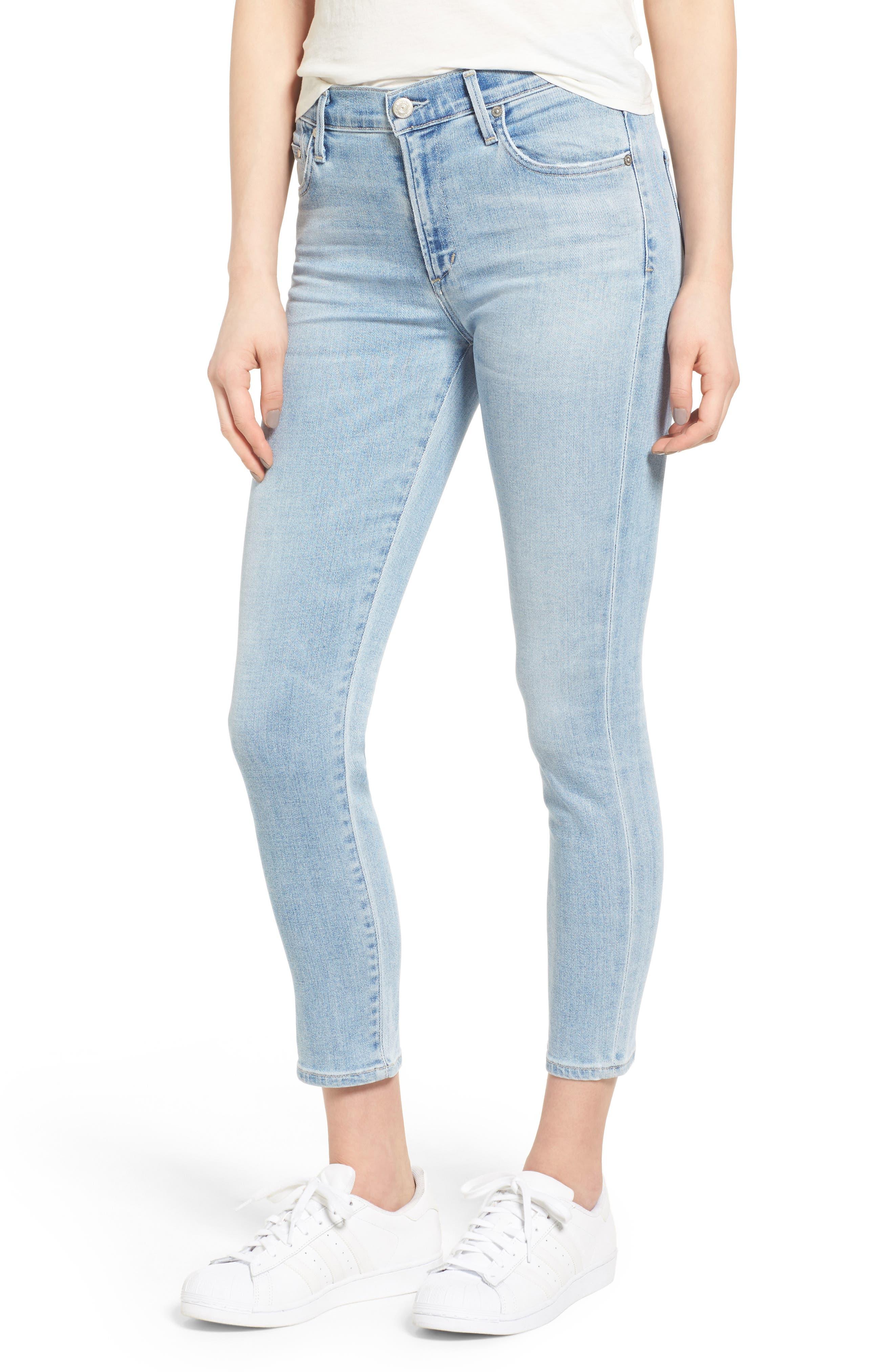 Rocket High Waist Crop Skinny Jeans,                         Main,                         color, Oracle Blue
