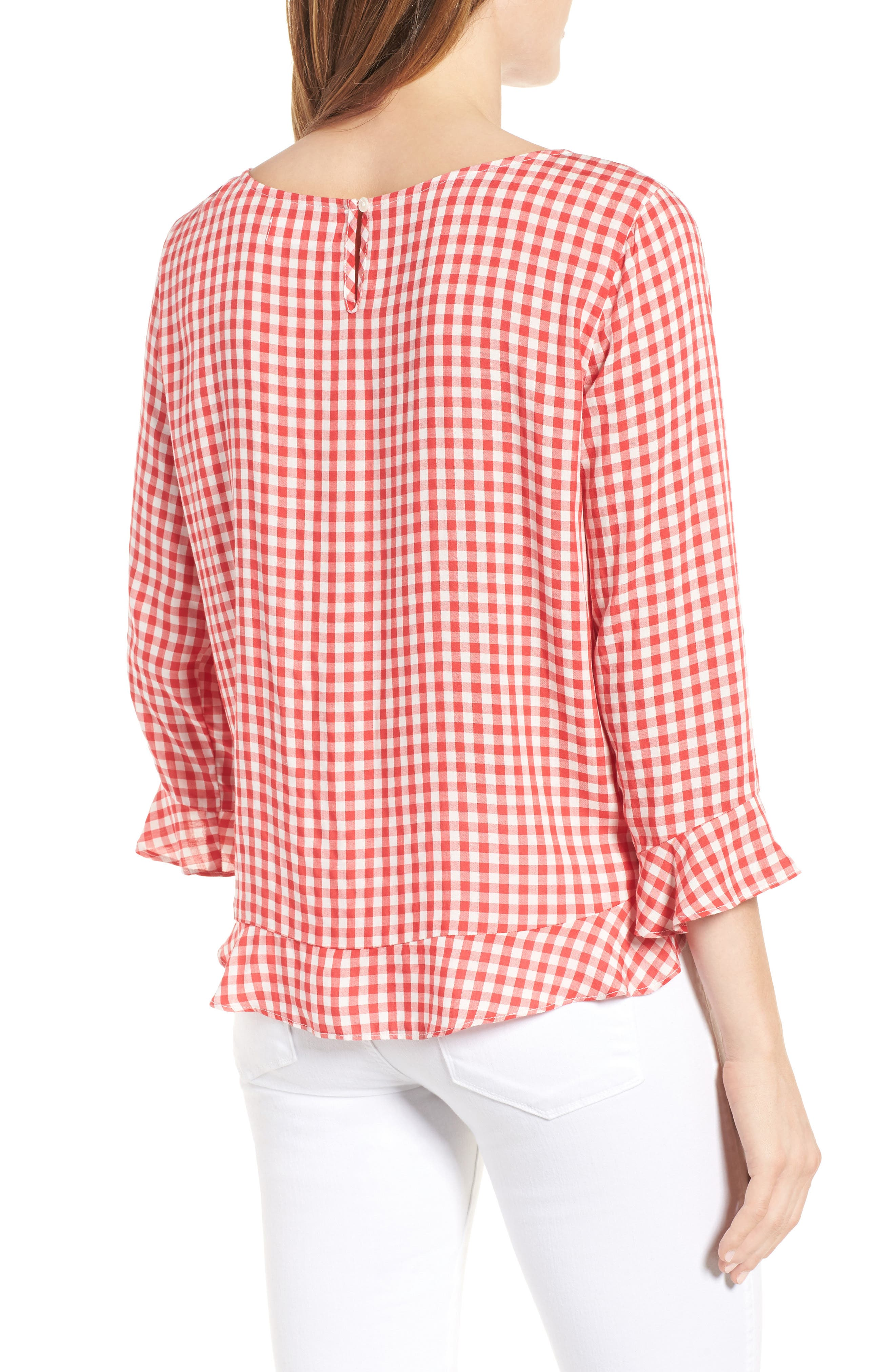 Ruffled Check Blouse,                             Alternate thumbnail 2, color,                             Red