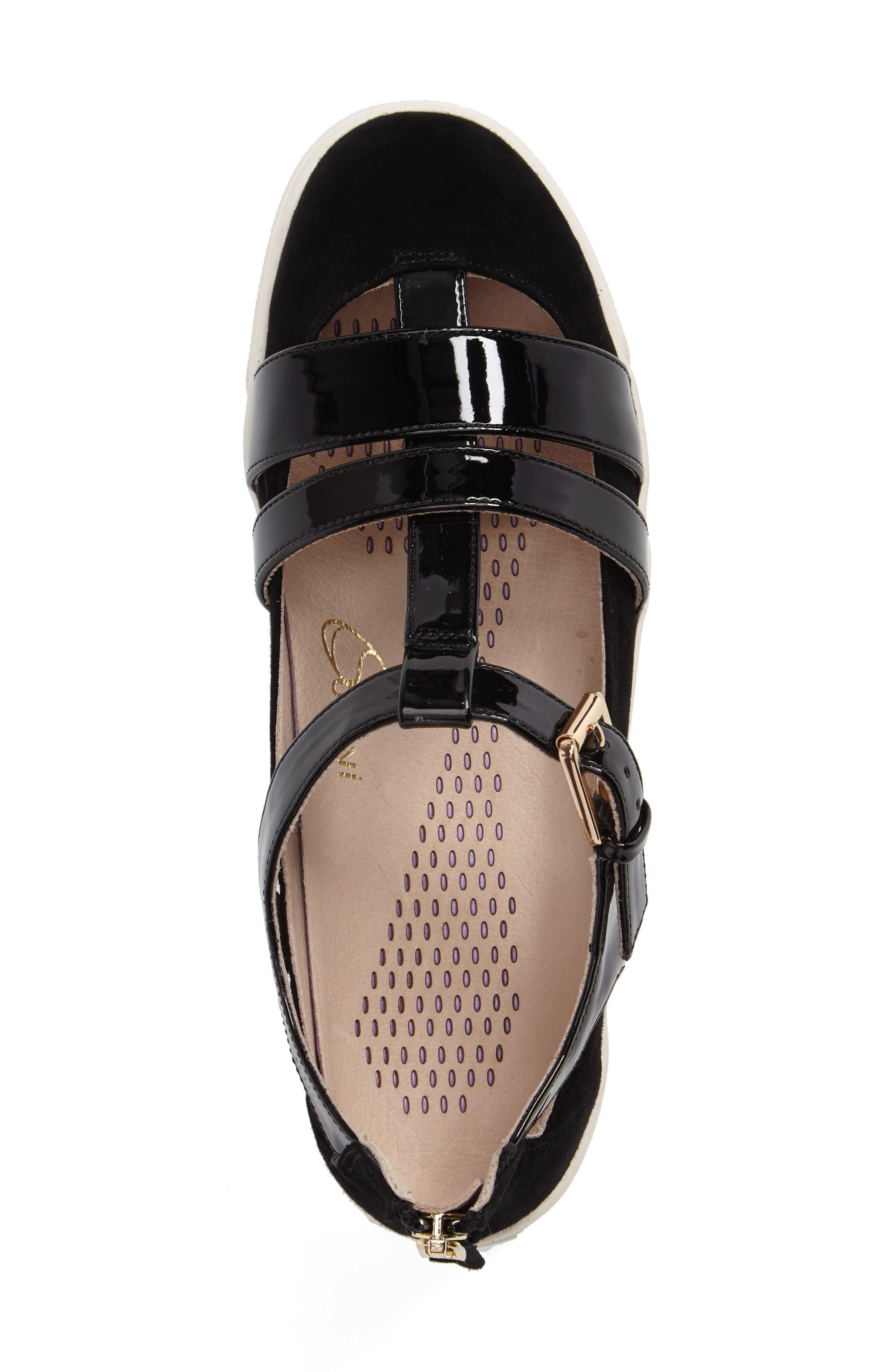 Iona Strappy Sneaker,                             Alternate thumbnail 3, color,                             Black Leather