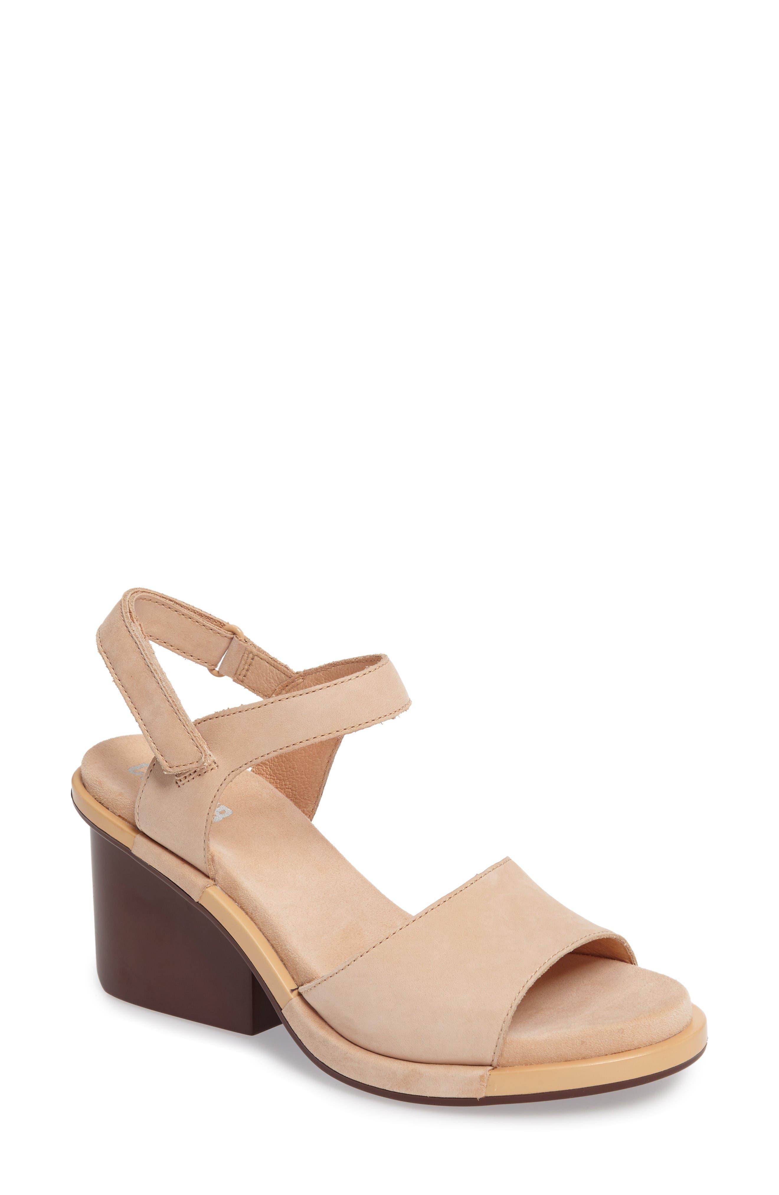 Ivy Ankle Strap Sandal,                         Main,                         color, Beige Leather