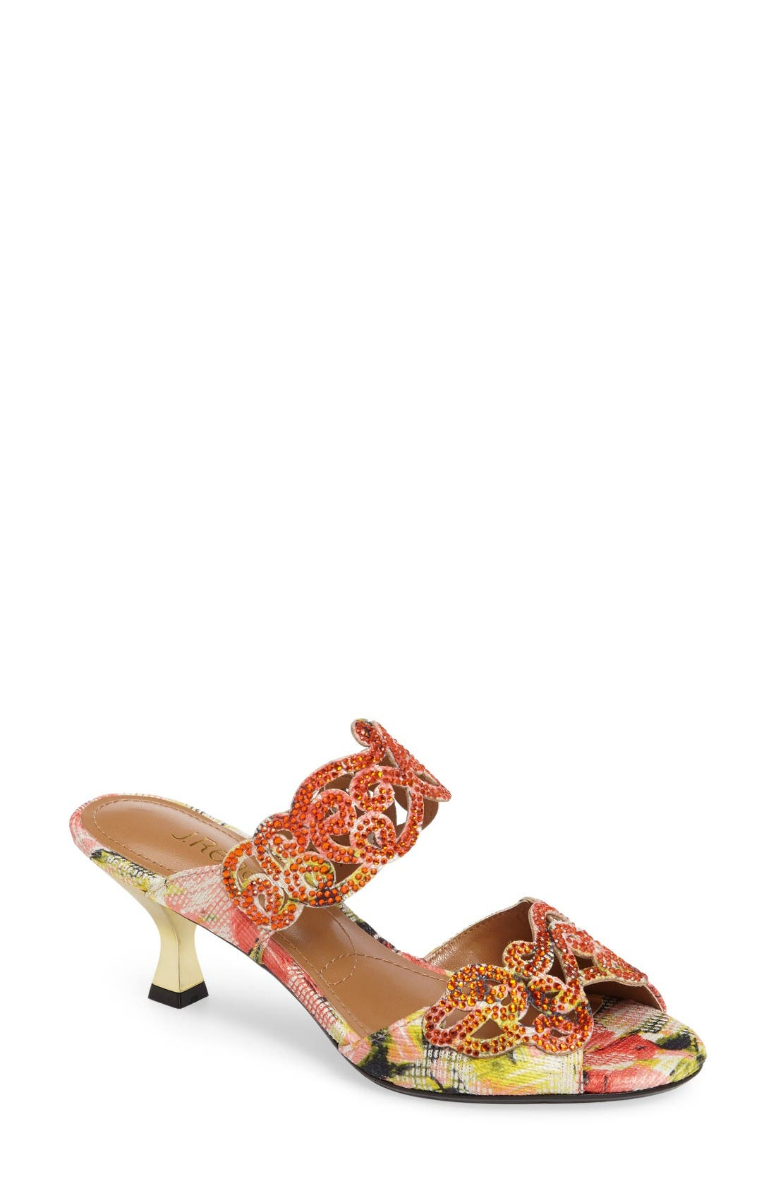 'Francie' Evening Sandal,                             Main thumbnail 1, color,                             Coral Multi Fabric