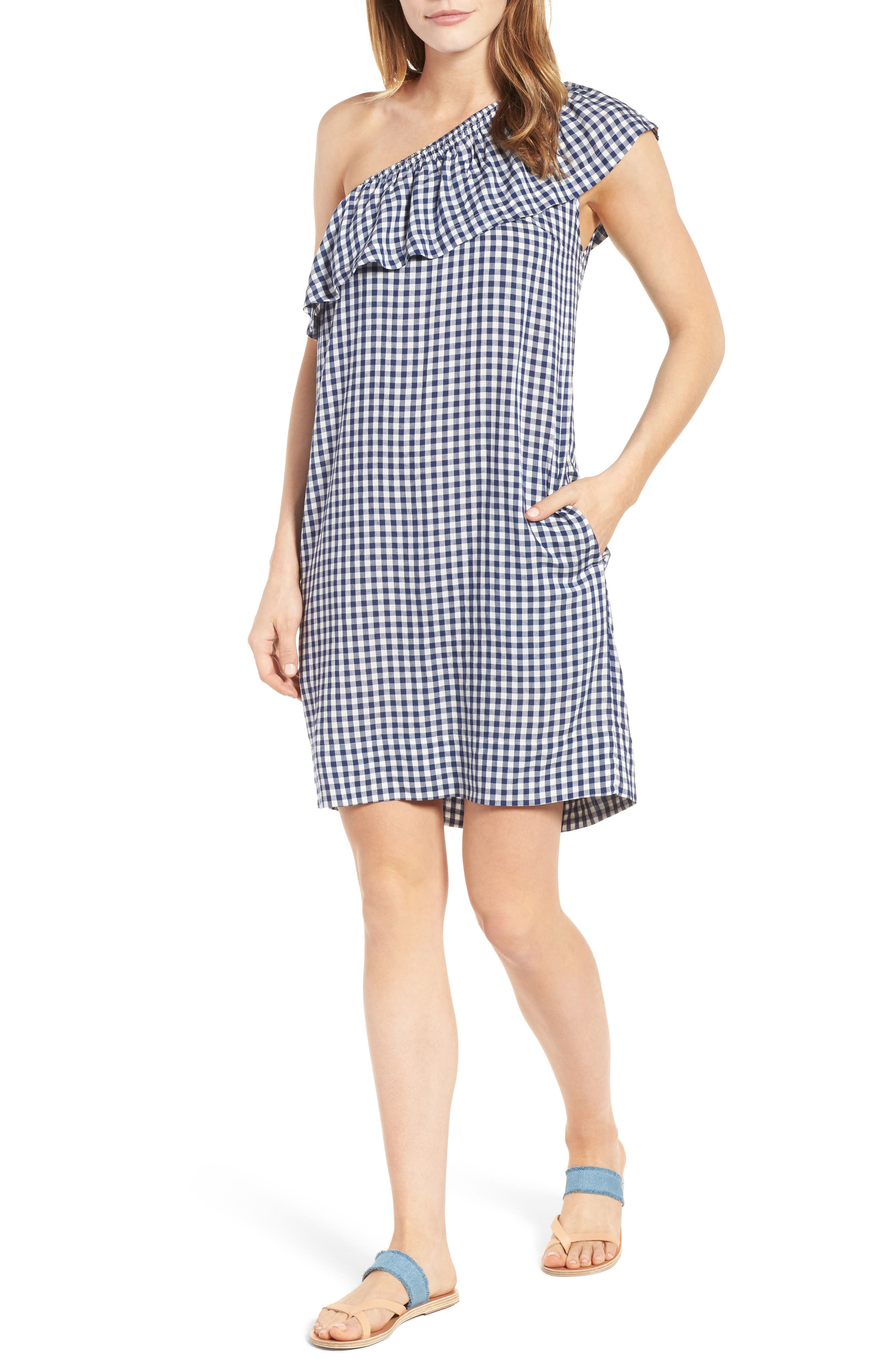 Alternate Image 1 Selected - Velvet by Graham & Spencer One-Shoulder Check Dress