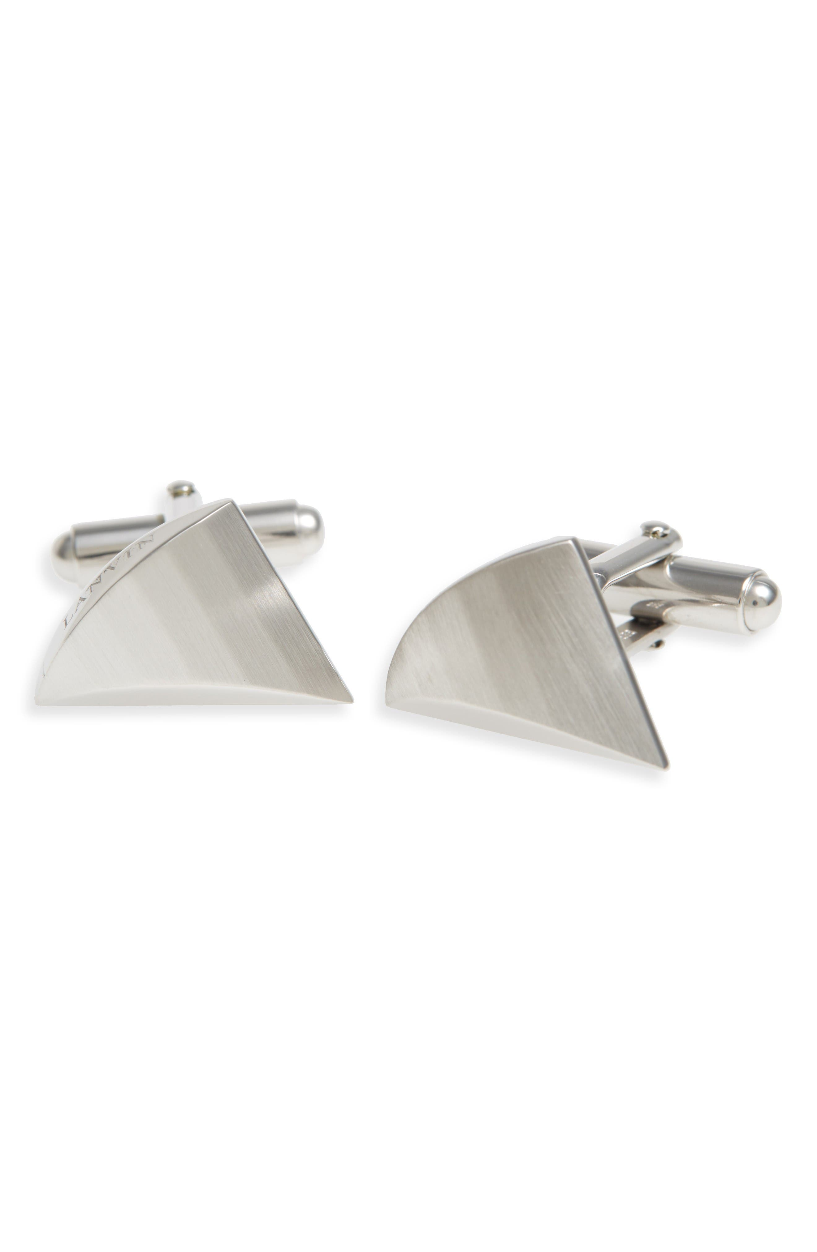 Faux Shark Tooth Cuff Links,                         Main,                         color, Light Silver