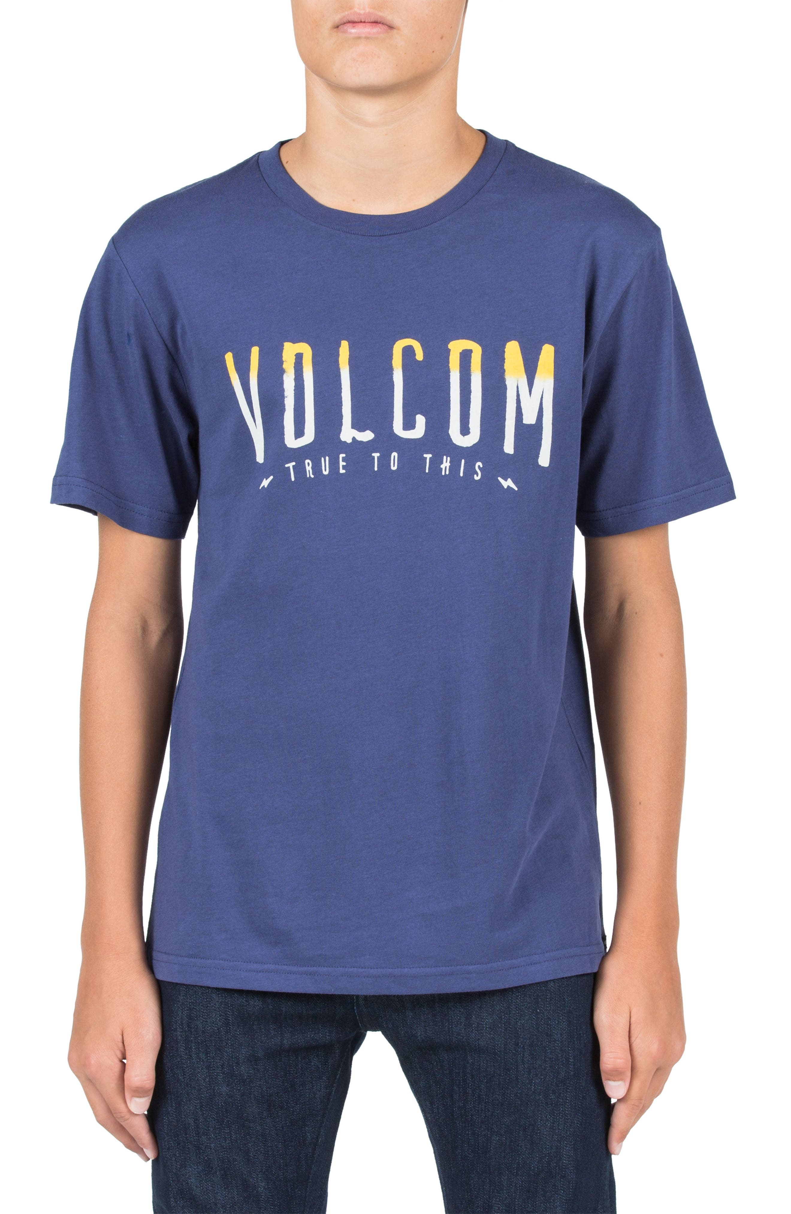 T Mark Graphic T-Shirt,                             Main thumbnail 1, color,                             Blue Plum