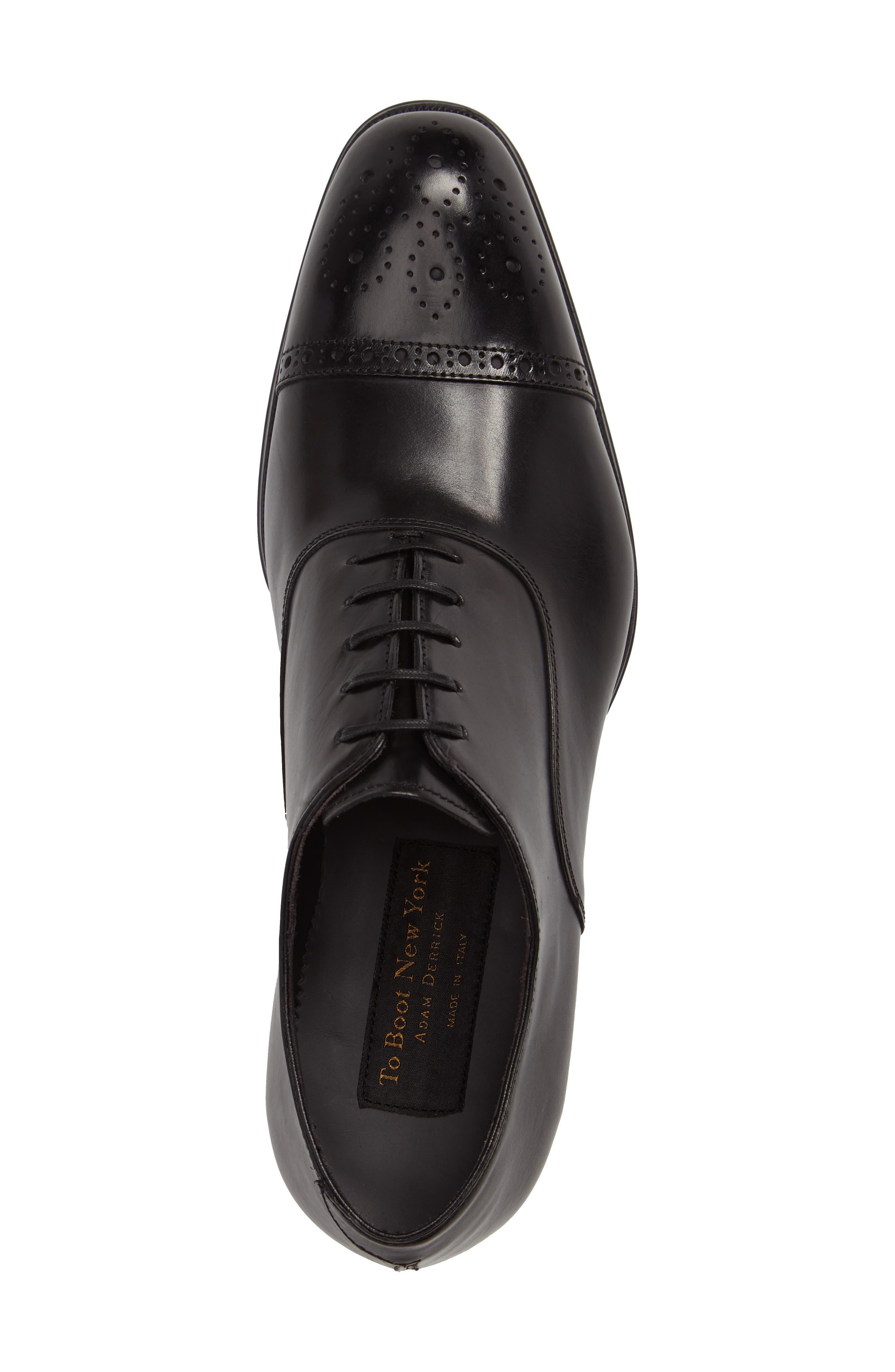 'Justin' Cap Toe Oxford,                             Alternate thumbnail 3, color,                             Black Leather