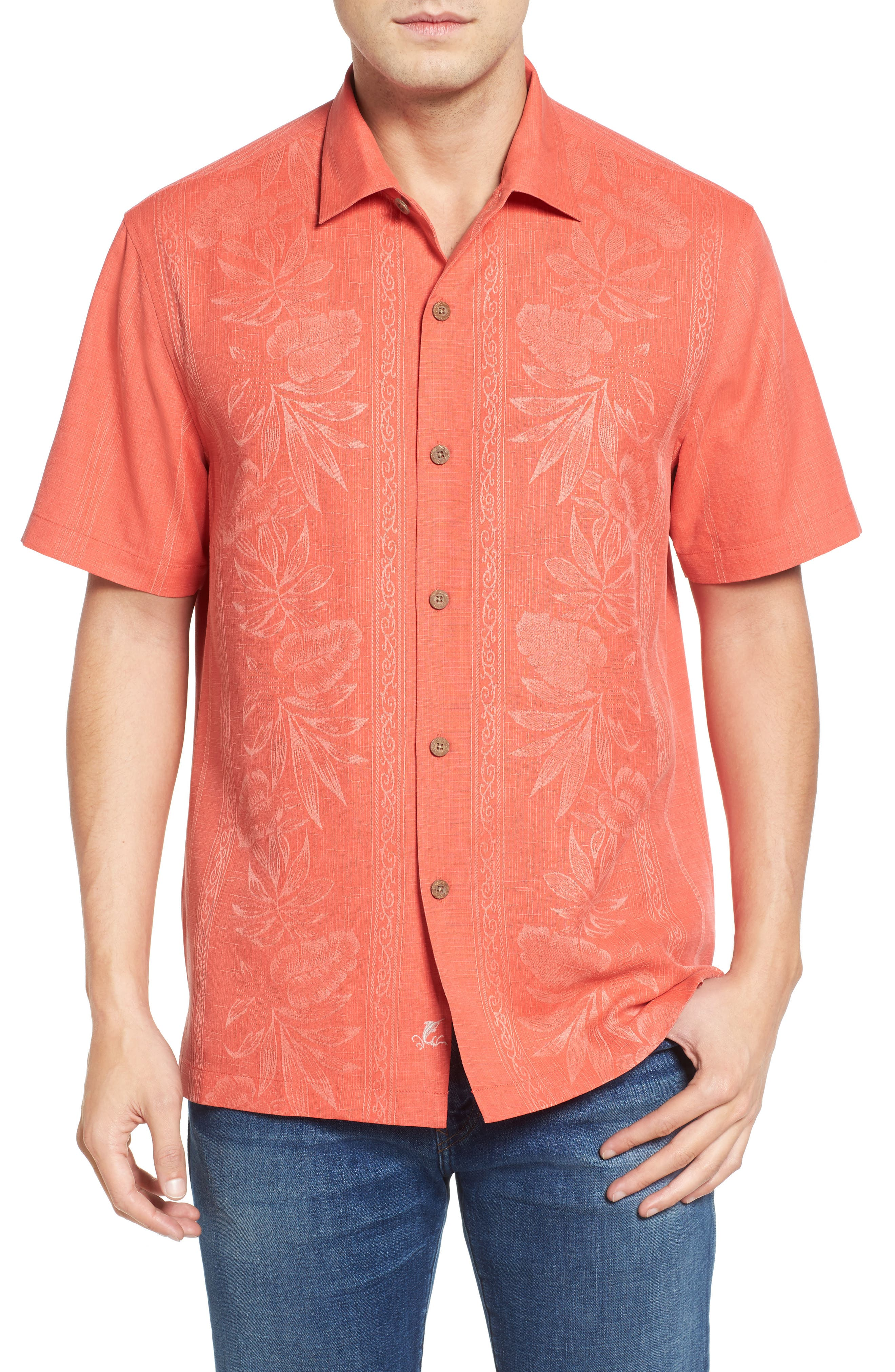 TOMMY BAHAMA Pacific Floral Silk Camp Shirt