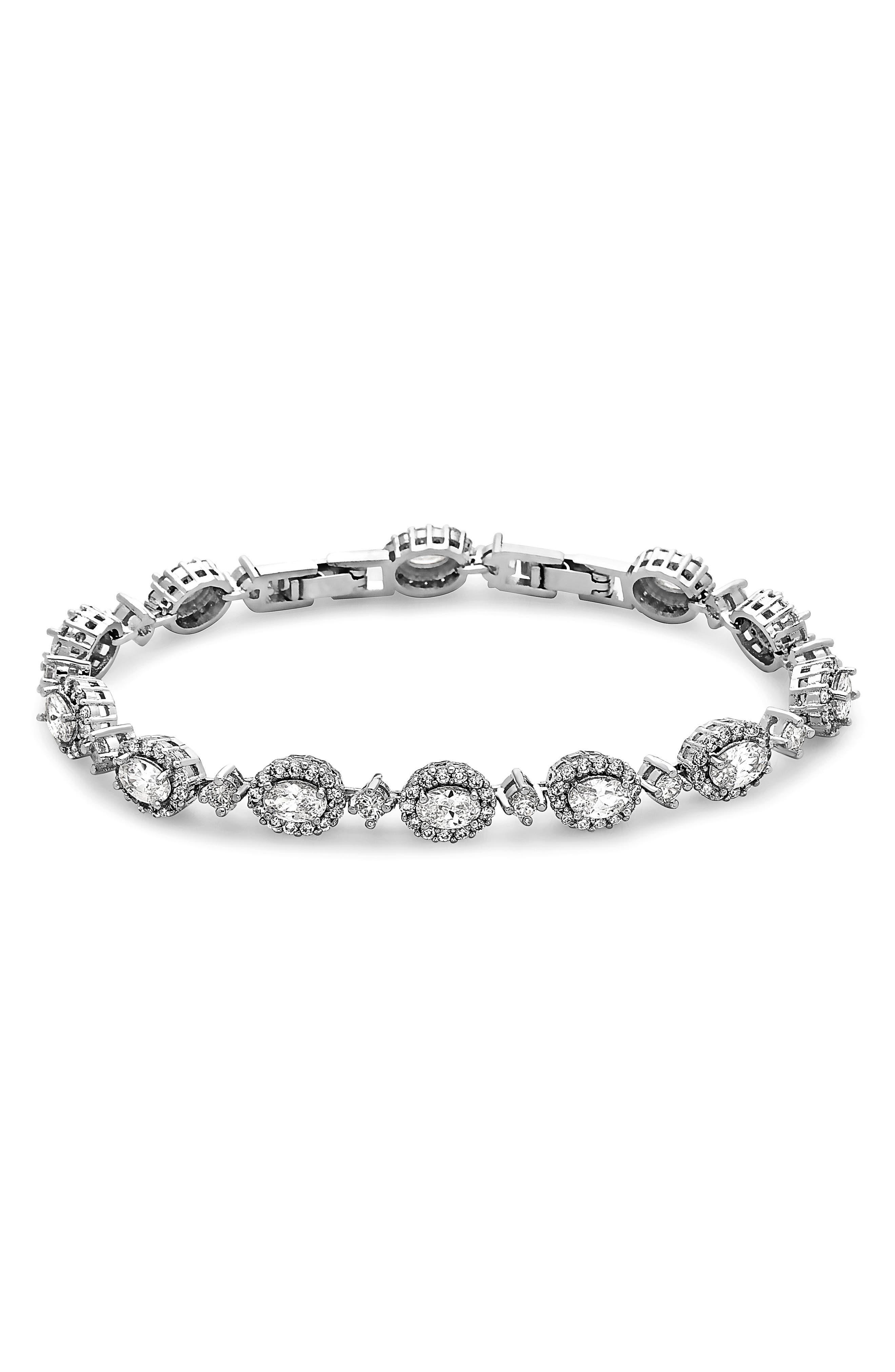 Crystal Line Bracelet,                         Main,                         color, Silver