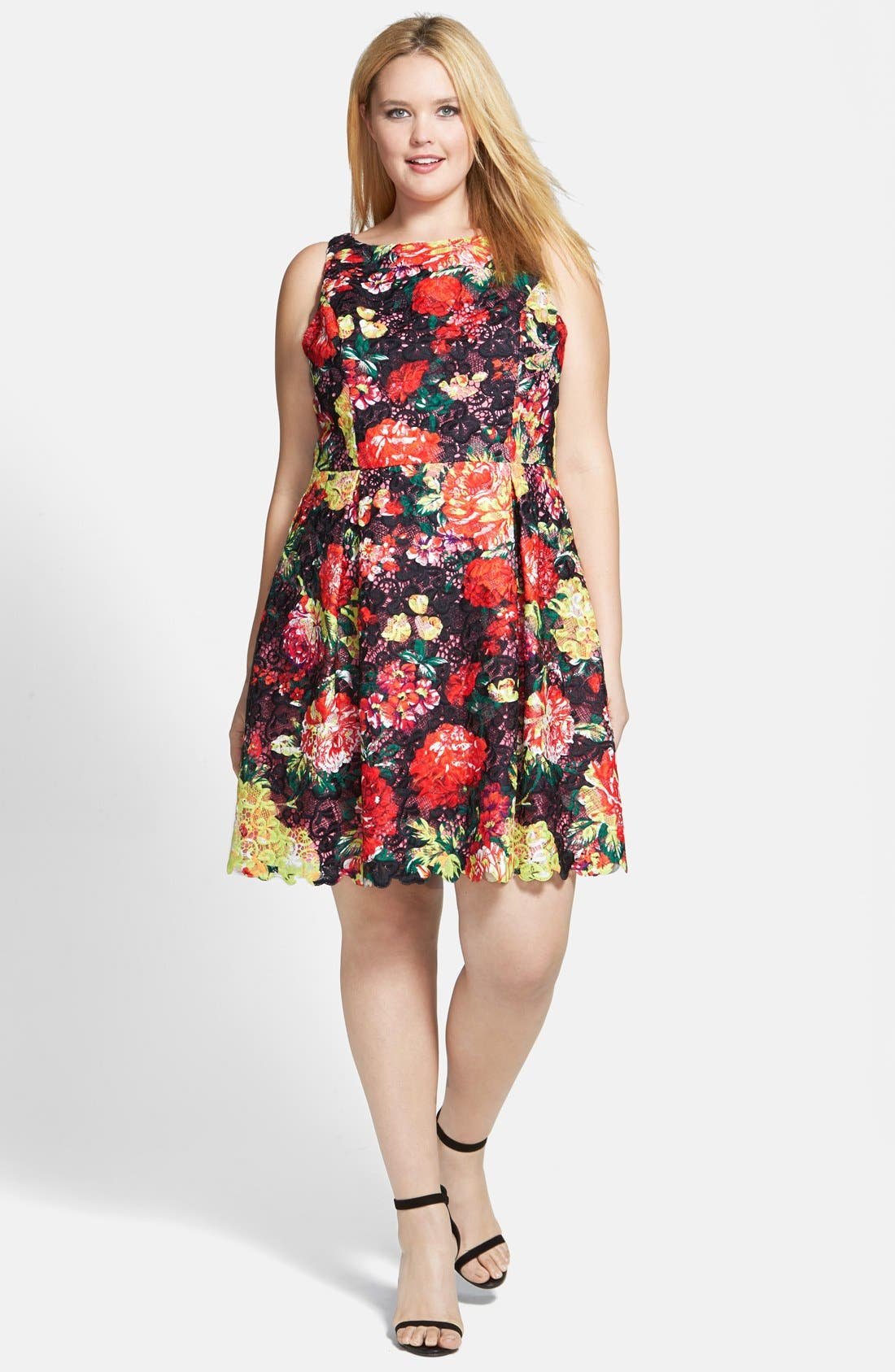 Alternate Image 4  - Adrianna Papell Print Lace Fit & Flare Dress (Plus Size)