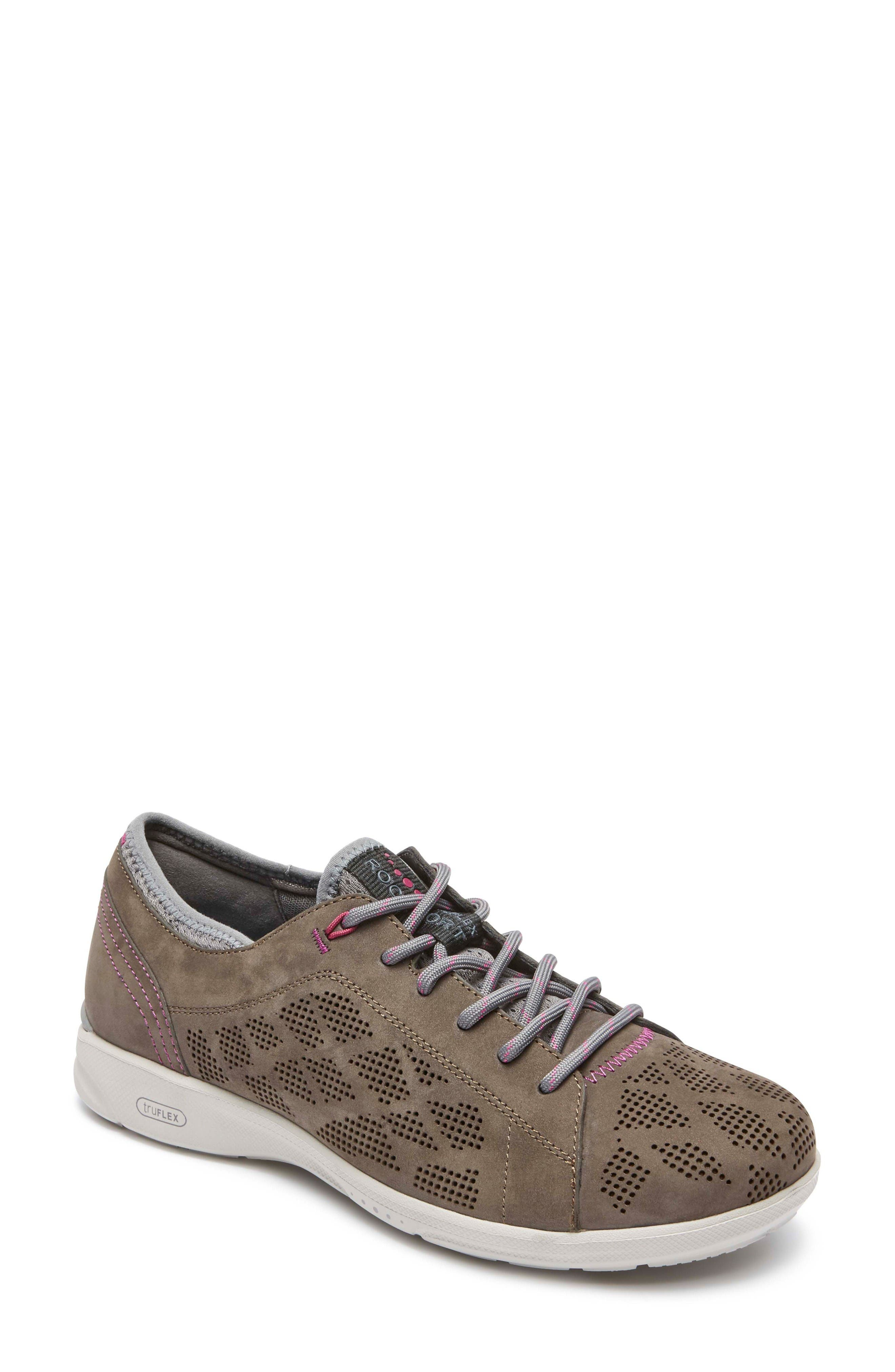 truFLEX Perforated Sneaker,                             Main thumbnail 1, color,                             Stone Leather