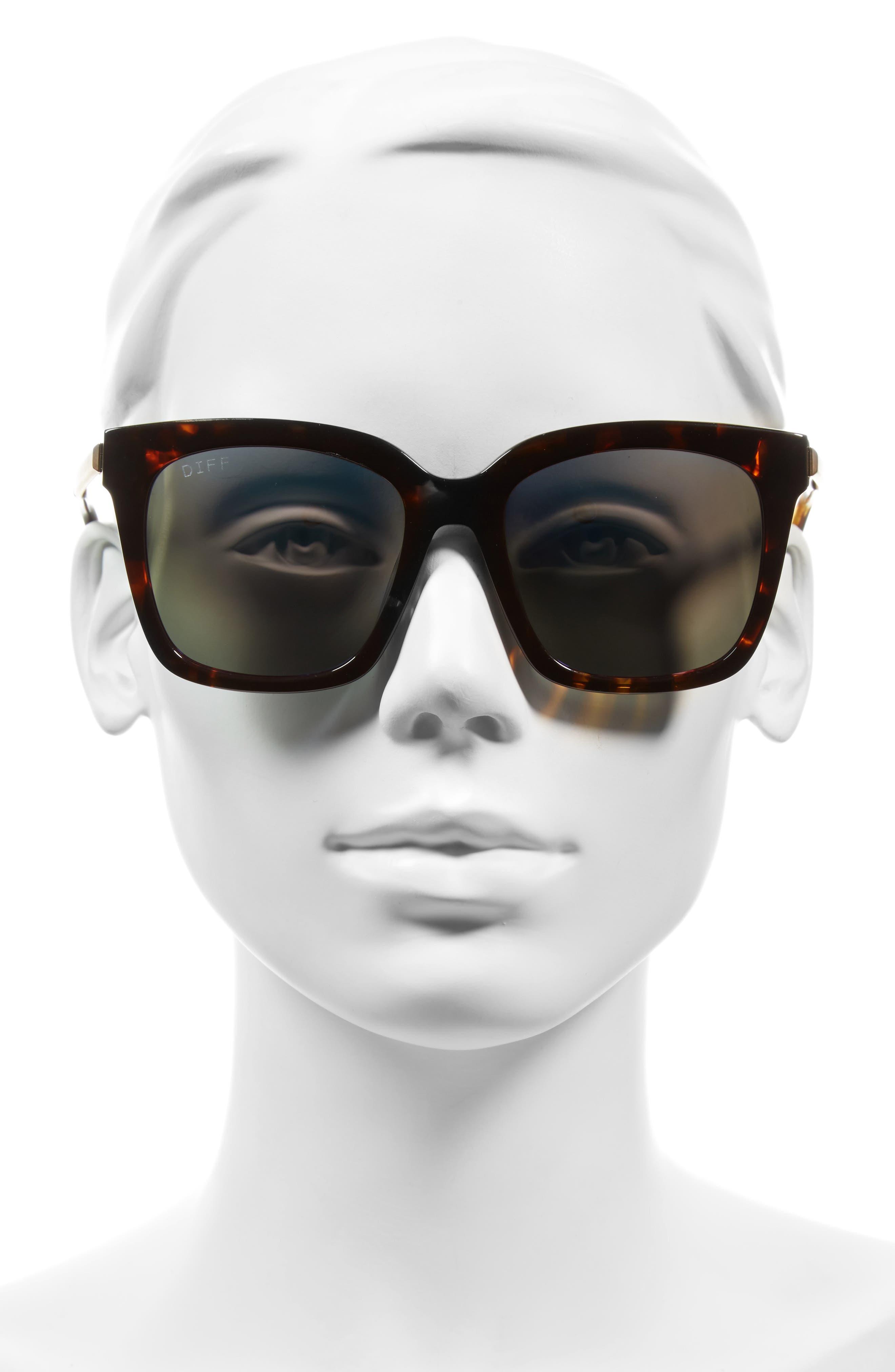 Bella 52mm Polarized Sunglasses,                             Alternate thumbnail 4, color,                             Tortoise/ Blue