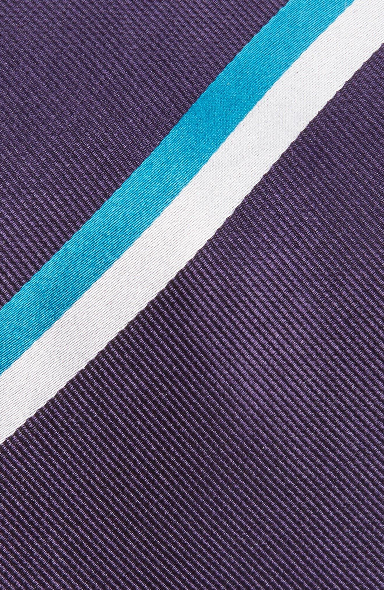 Ad Stripe Silk Tie,                             Alternate thumbnail 2, color,                             Eggplant