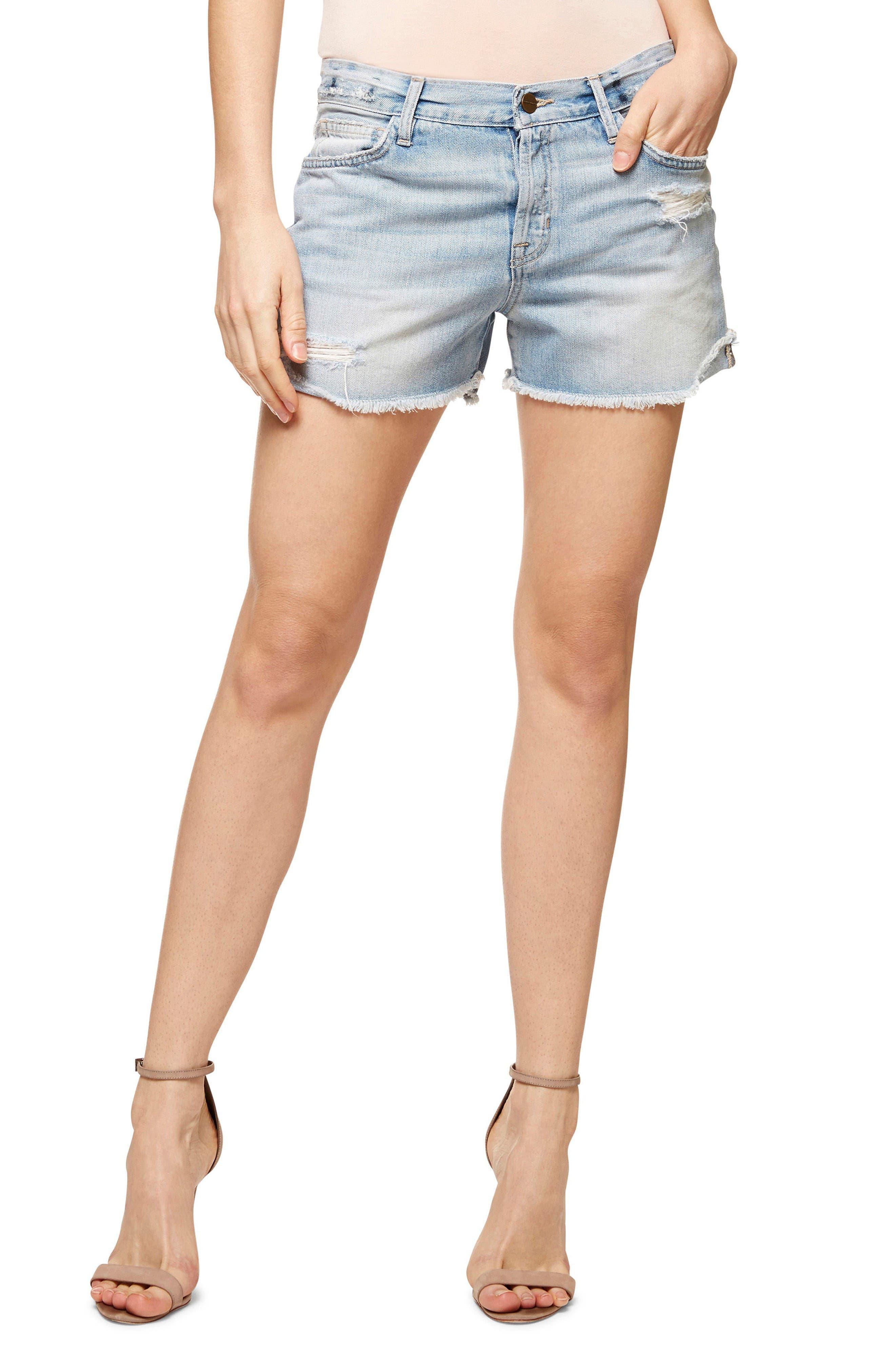 Chelsea Ripped Denim Shorts,                             Main thumbnail 1, color,                             Dakota Wash